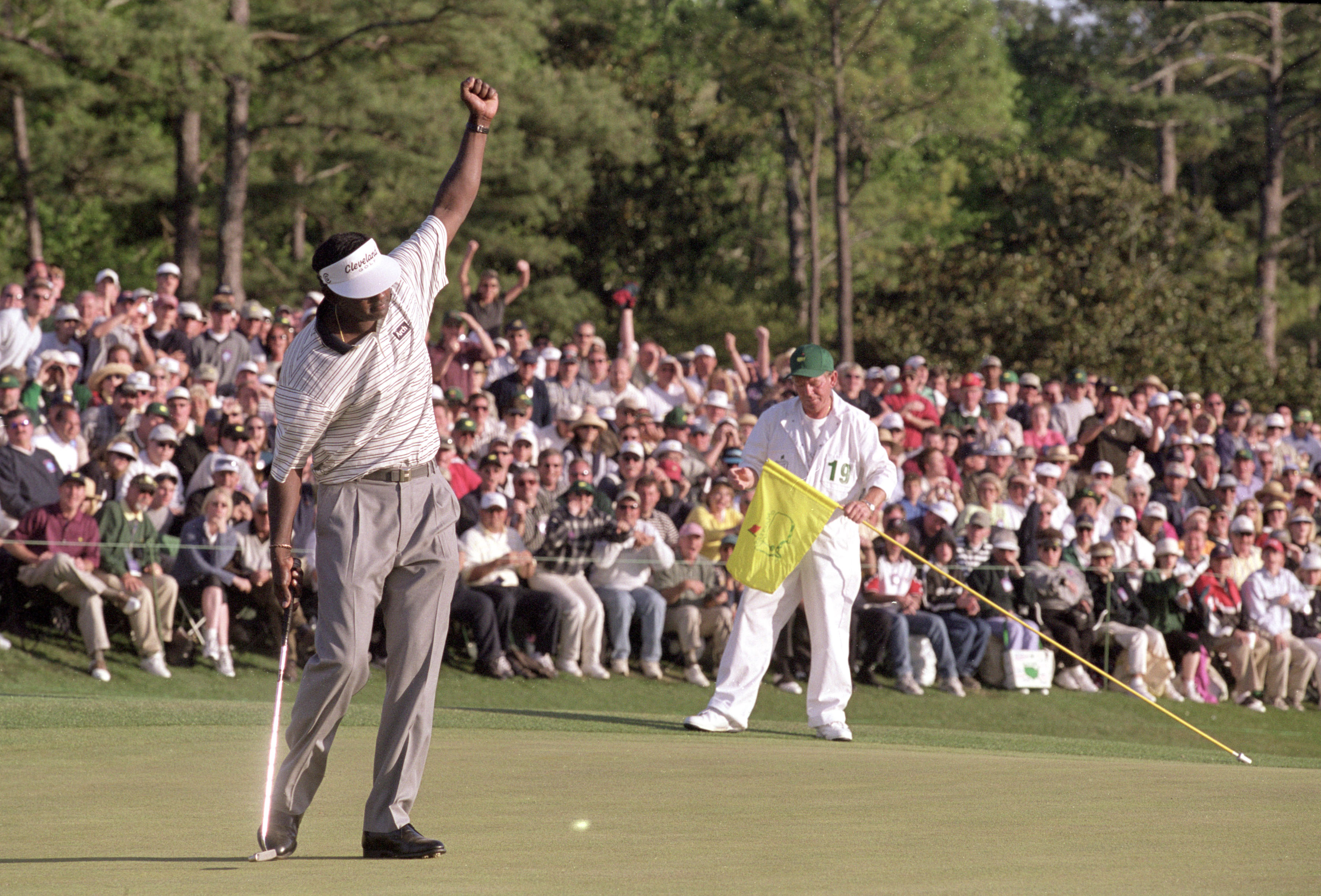 9 Apr 2000:  Vijay Singh of Fiji makes his birdie on the 18th hole during the final round of the US Masters to secure victory at Augusta National at Georgia, USA.  \ Mandatory Credit:  Andrew Redington /Allsport