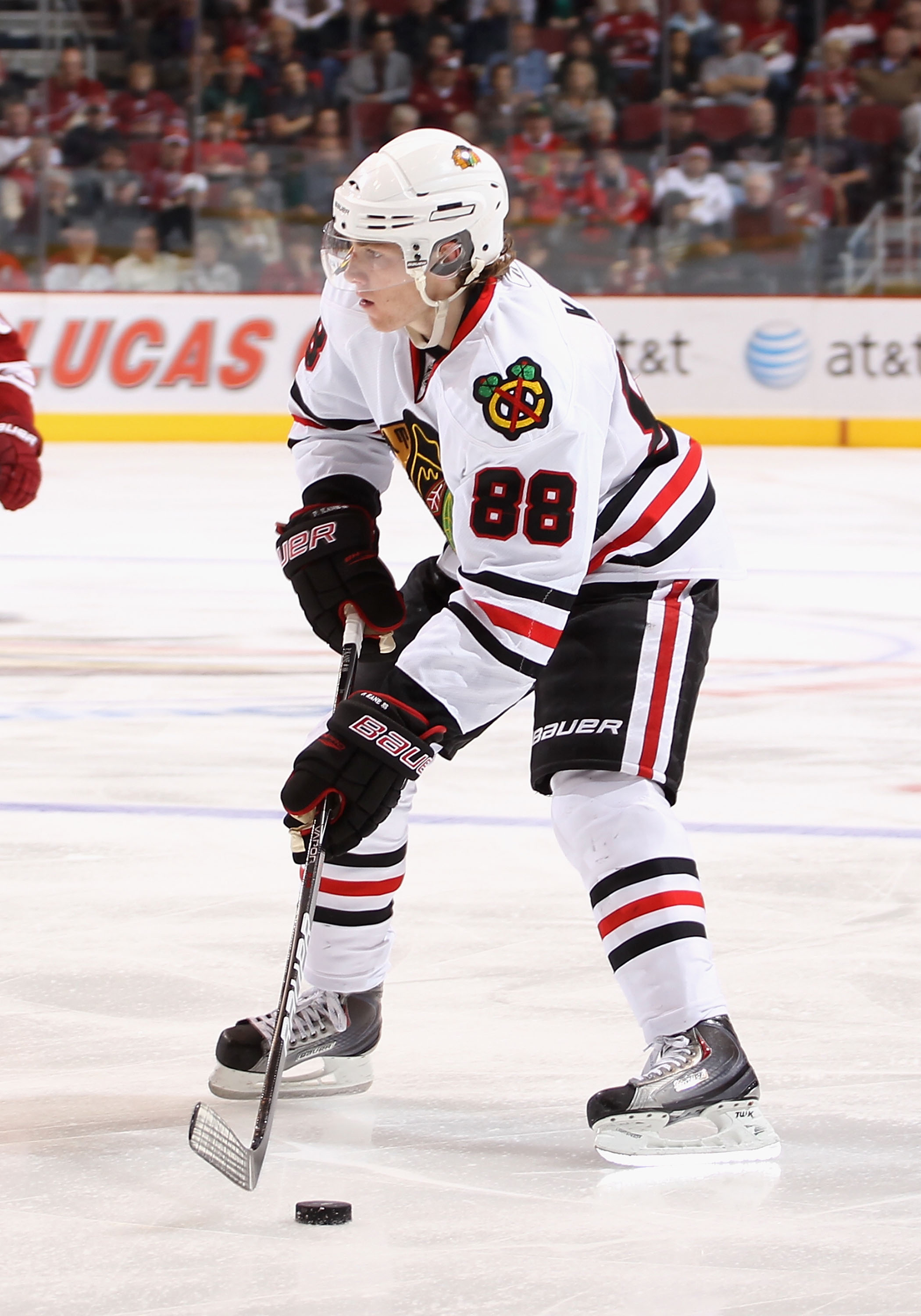 GLENDALE, AZ - MARCH 20:  Patrick Kane #88 of the Chicago Blackhawks skates with the puck during the NHL game against the Phoenix Coyotes at Jobing.com Arena on March 20, 2011 in Glendale, Arizona. The Blackhawks defeated the Coyotes 2-1.  (Photo by Chris