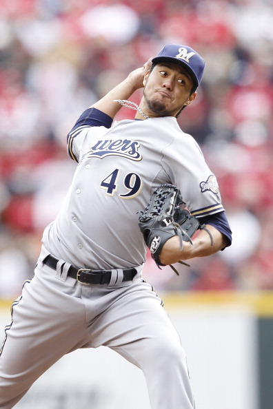 CINCINNATI, OH - MARCH 31: Yovani Gallardo #49 of the Milwaukee Brewers pitches against the Cincinnati Reds in the opening day game at Great American Ballpark on March 31, 2011 in Cincinnati, Ohio. The Reds won 7-6. (Photo by Joe Robbins/Getty Images)
