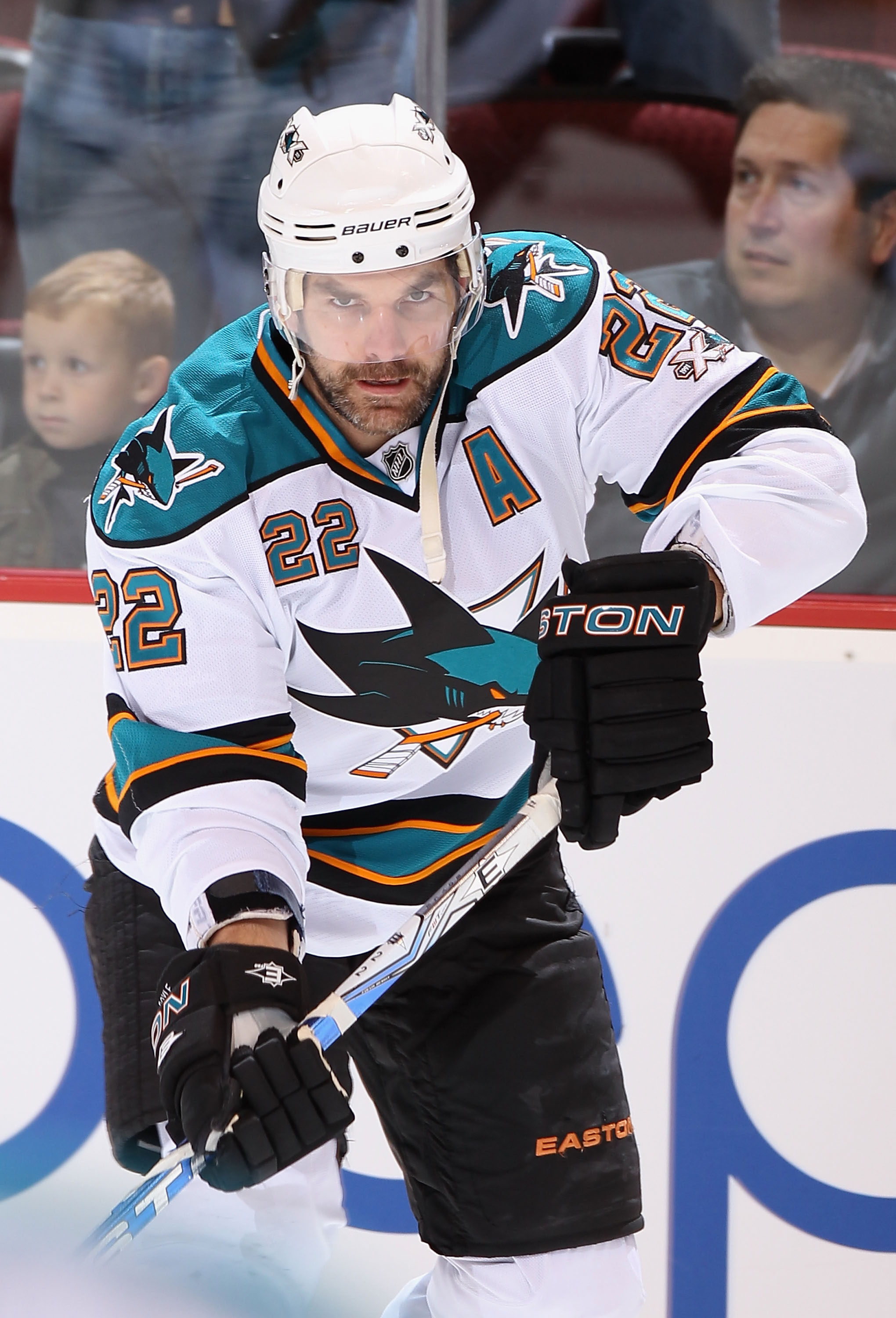 GLENDALE, AZ - MARCH 26:  Dan Boyle #22 of the San Jose Sharks warms up before the NHL game against the Phoenix Coyotes at Jobing.com Arena on March 26, 2011 in Glendale, Arizona.  The Sharks defeated the Coyotes 4-1. (Photo by Christian Petersen/Getty Im