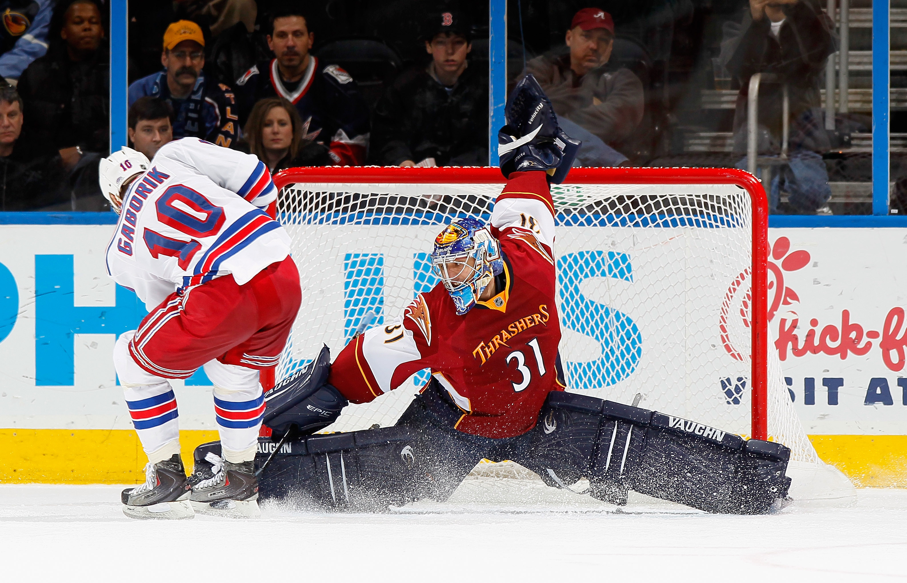 ATLANTA, GA - FEBRUARY 11:  Goaltender Ondrej Pavelec #31 of the Atlanta Thrashers saves a penalty shot by Marian Gaborik #10 of the New York Rangers at Philips Arena on February 11, 2011 in Atlanta, Georgia.  (Photo by Kevin C. Cox/Getty Images)