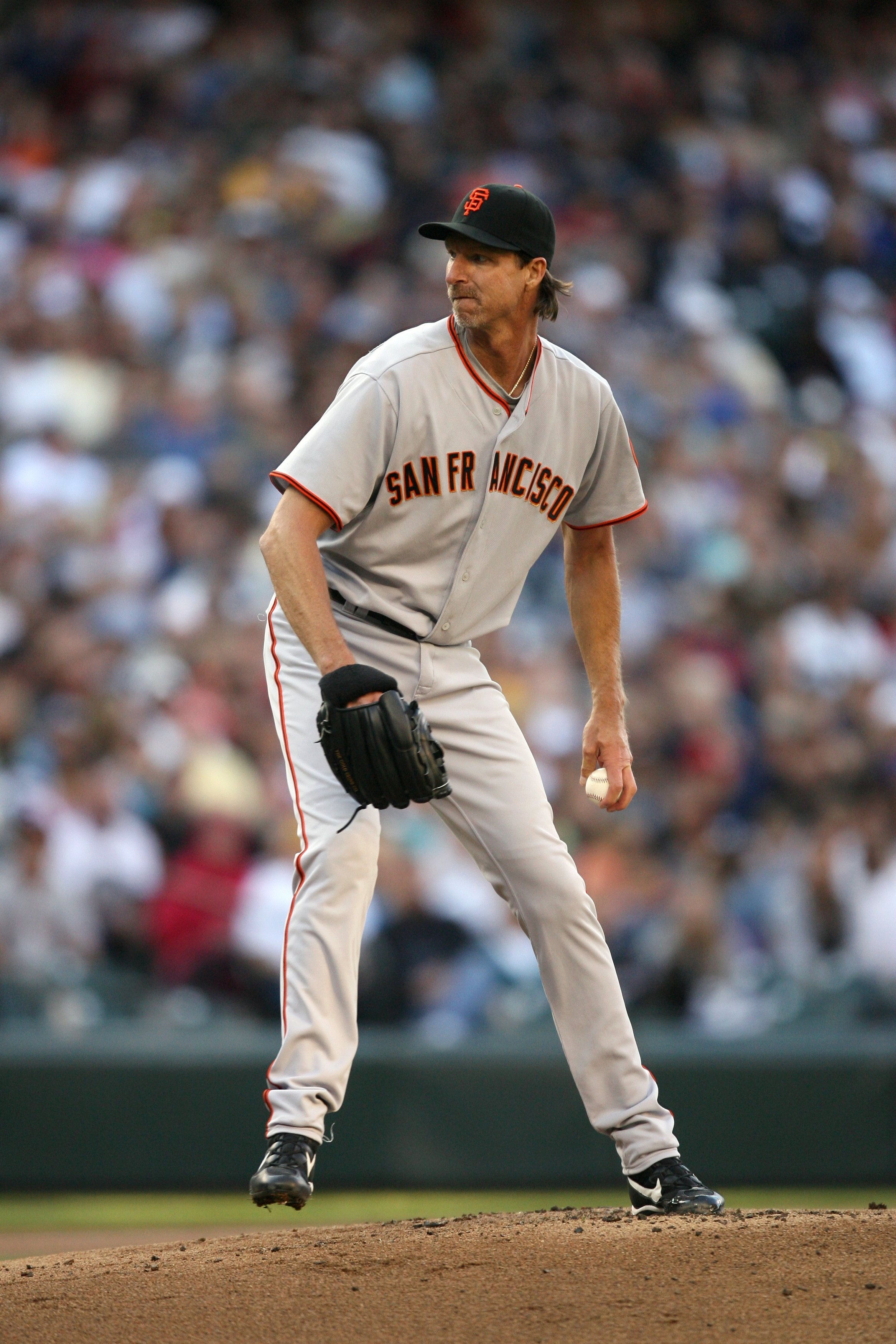 SEATTLE - MAY 22:  Randy Johnson #51 of the San Francisco Giants pitches during the game against the Seattle Mariners on May 22, 2009 in Seattle, Washington. The Mariners defeated the Giants 2-1 in twelve innings. (Photo by Otto Greule Jr/Getty Images)