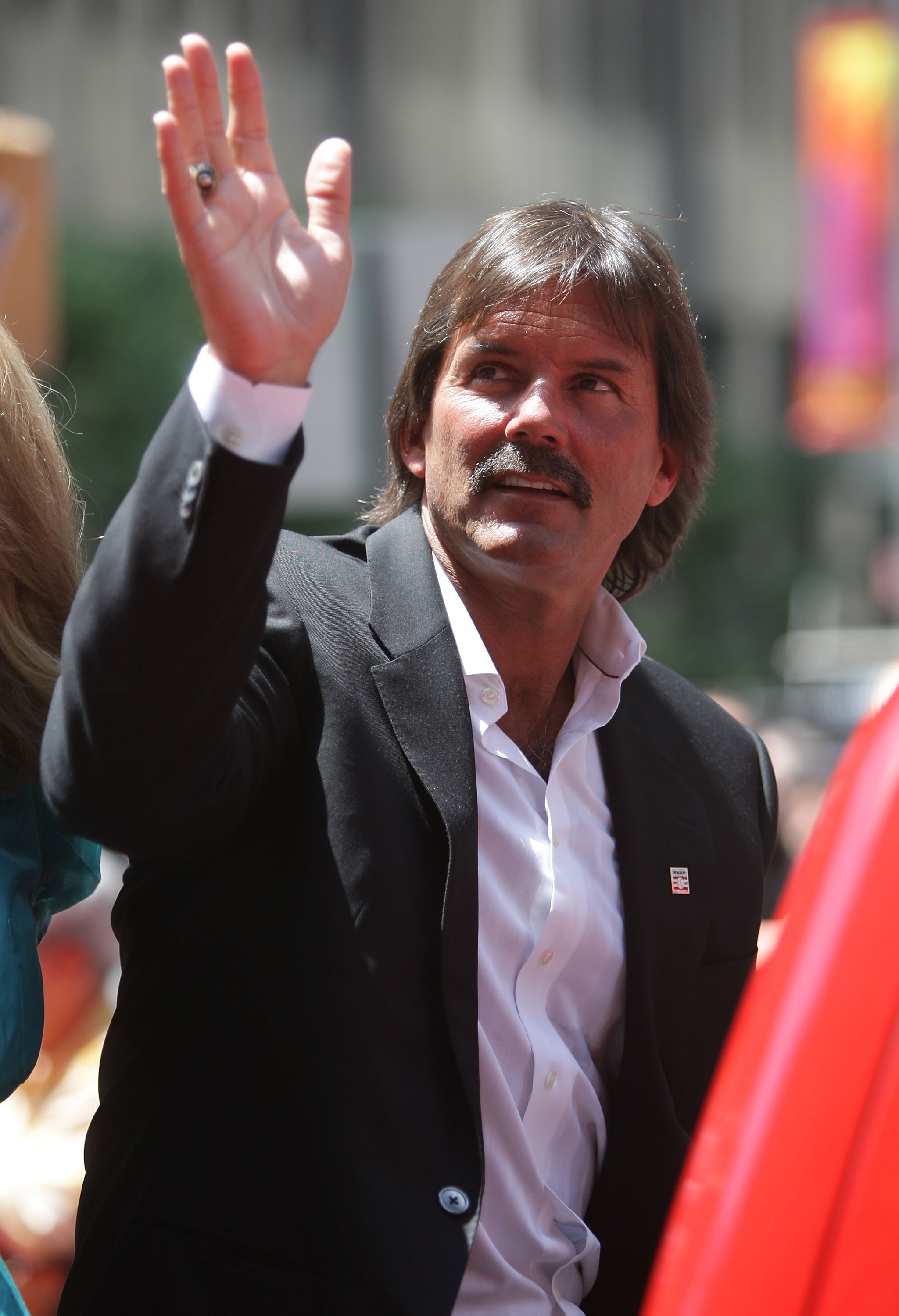NEW YORK - JULY 15:  Halll of famer Dennis Eckersley waves during the MLB All-Star Game Red Carpet Parade on July 15, 2008 in New York City.  (Photo by Mike Stobe/Getty Images)