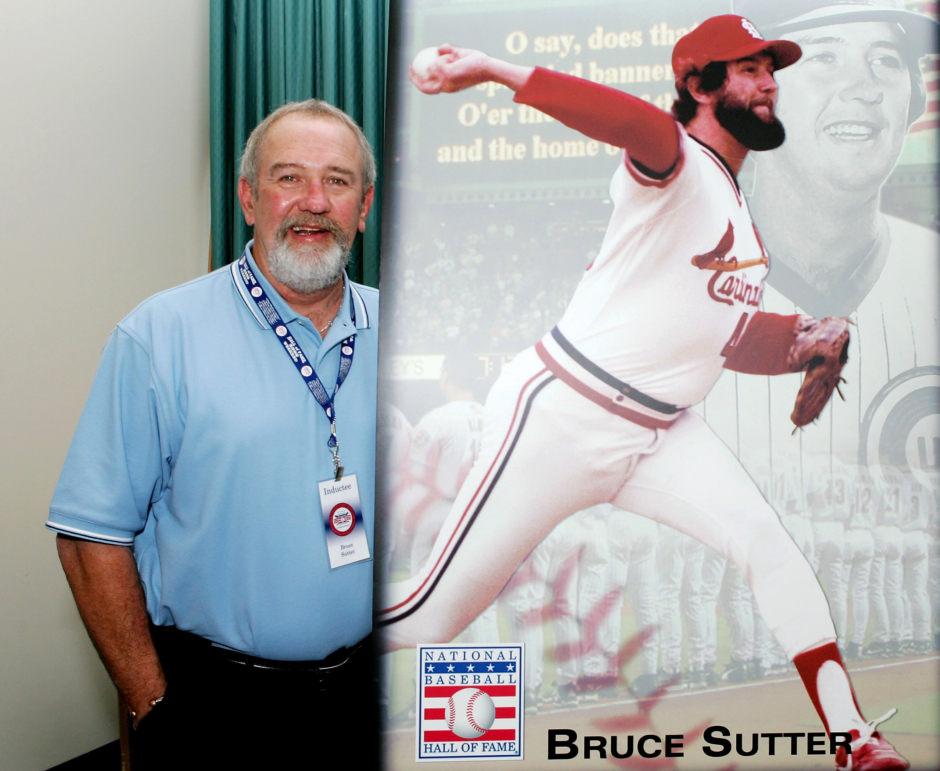COOPERSTOWN, NY - JULY 29:  2006 Hall of Fame inductee Bruce Sutter poses next to a picture of himself after a press conference at Bassett Hall during the Baseball Hall of Fame weekend on July 29, 2006 in Cooperstown, New York.  (Photo by Jim McIsaac/Gett