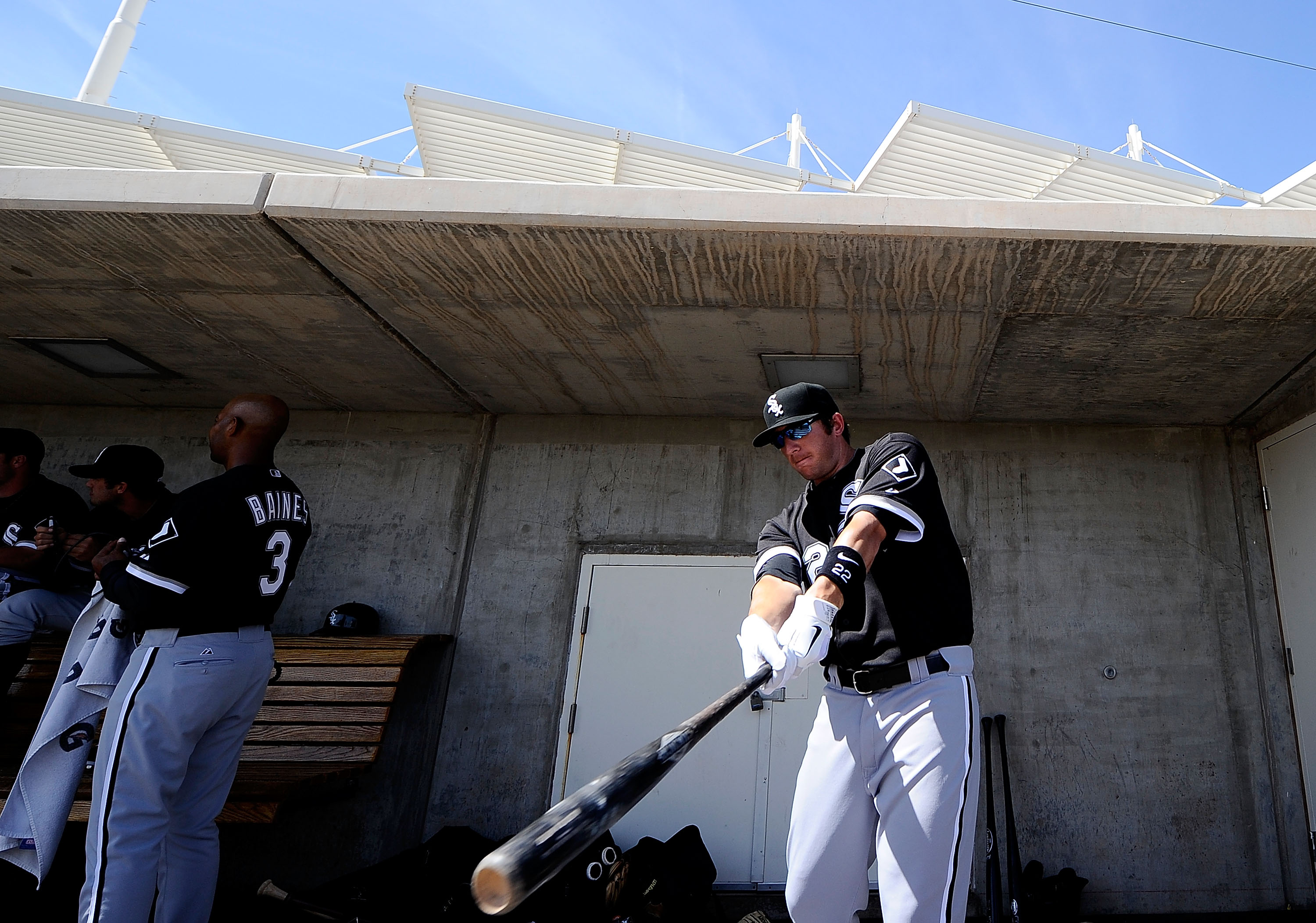 PHOENIX, AZ - MARCH 17:  Brent Morel #22 of the Chicago White Sox warms up before playing against the Milwaukee Brewers during the spring training game at Maryvale Baseball Park on March 17, 2011 in Phoenix, Arizona.  (Photo by Kevork Djansezian/Getty Ima