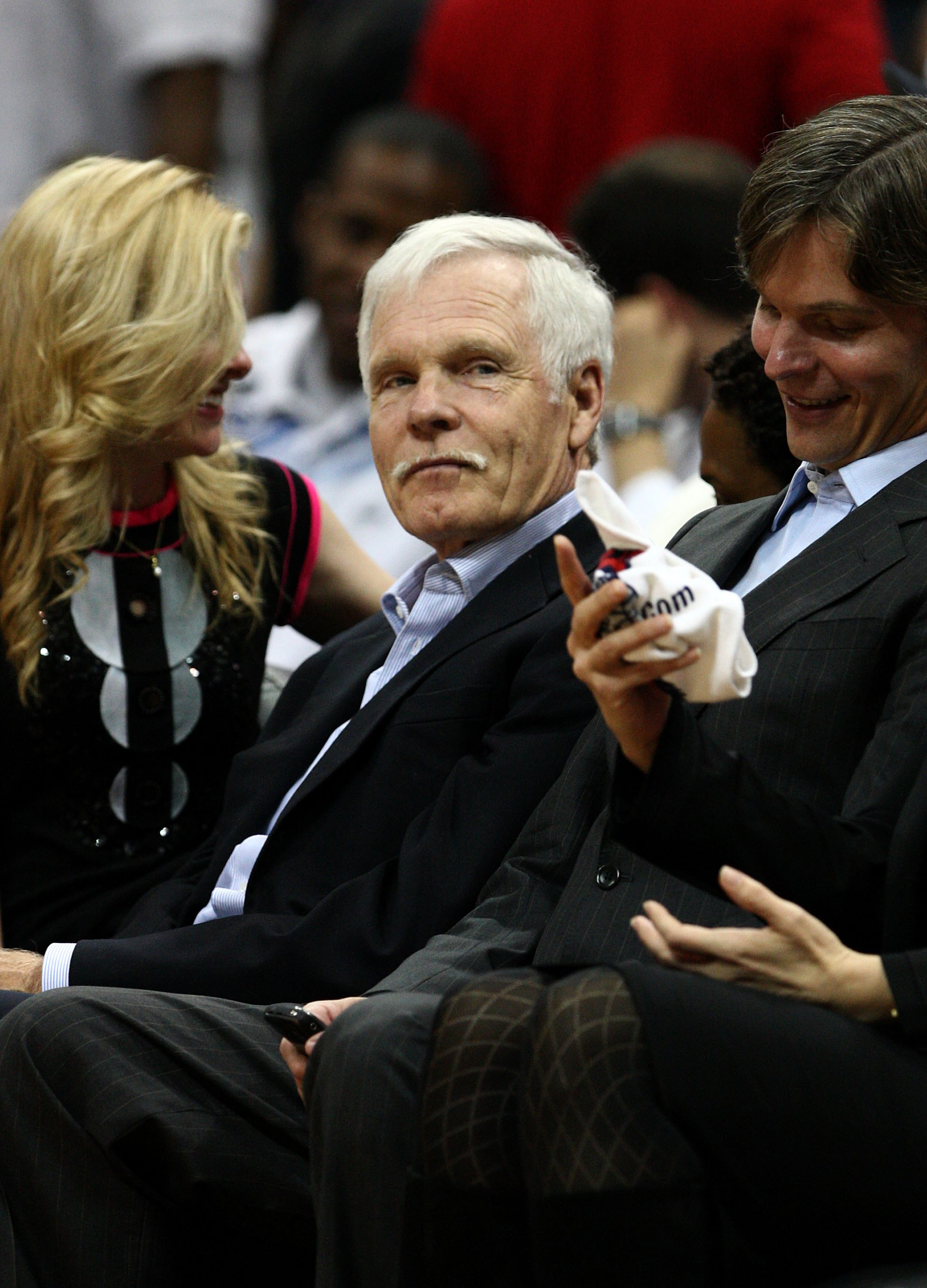 ATLANTA - APRIL 28: Ted Turner watches Game Four of the Eastern Conference Quarterfinals between the Atlanta Hawks and the Boston Celtics from the front row during the 2008 NBA Playoffs at the Philips Arena on April 28, 2008 in Atlanta, Georgia. The Hawks
