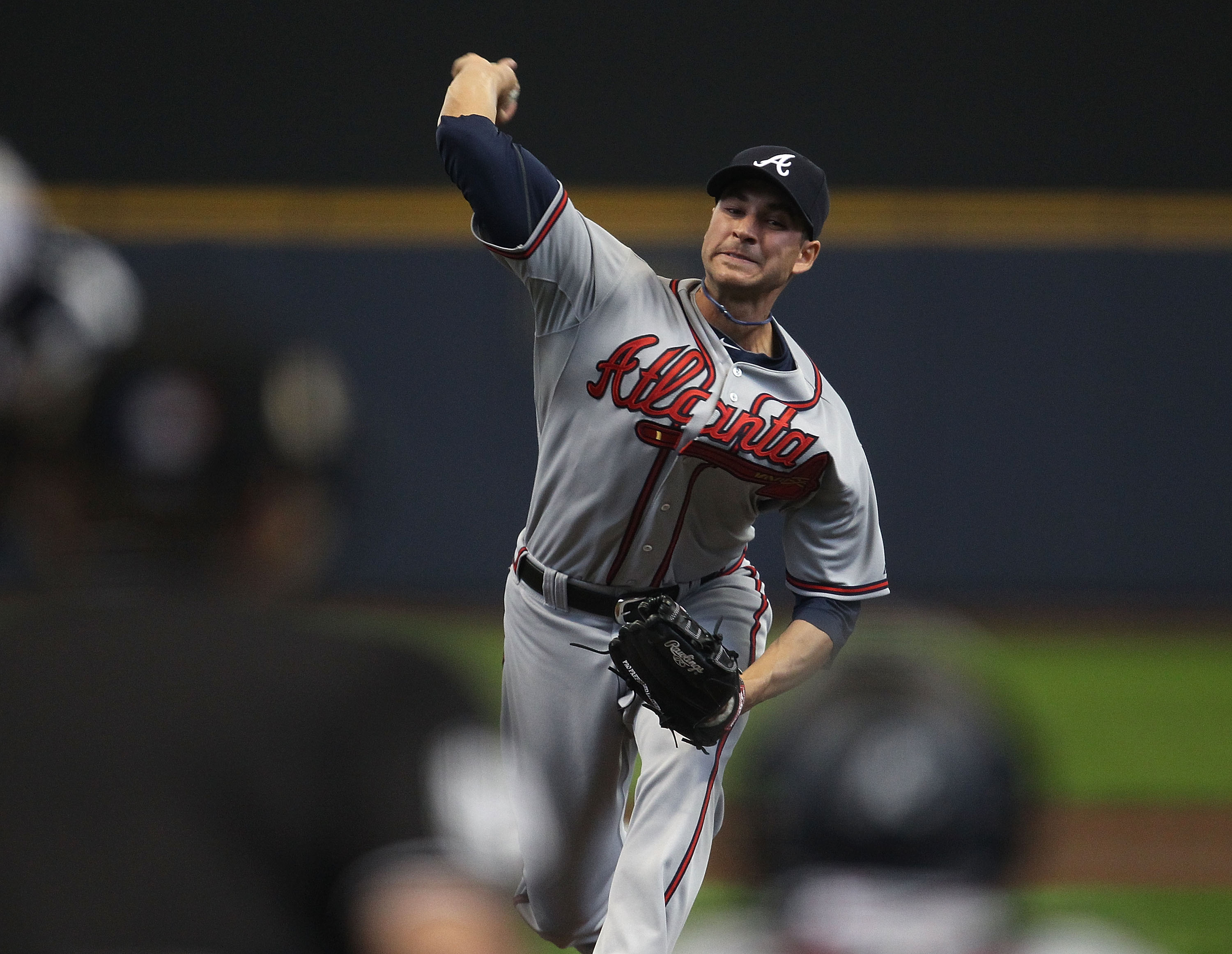 MILWAUKEE, WI - APRIL 04: Starting pitcher Brandon Beachy #37 of the Atlanta Braves delivers the ball against the Milwaukee Brewers during the home opener at Miller Park on April 4, 2011 in Milwaukee, Wisconsin. (Photo by Jonathan Daniel/Getty Images)