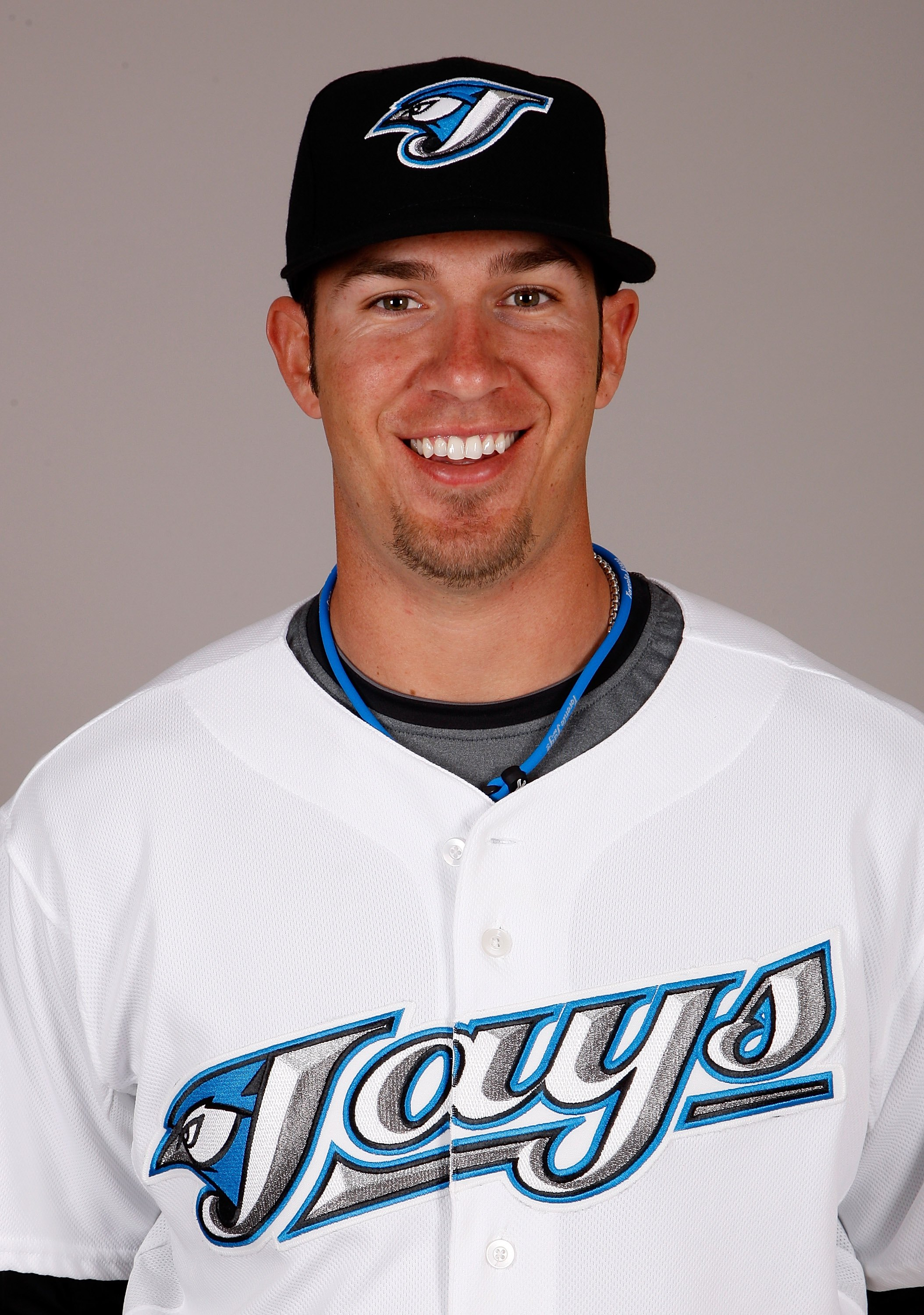 DUNEDIN, FL - FEBRUARY 23:  JP Arencibia #9 of the Toronto Blue Jays poses during photo day at the Bobby Mattick Training Center at Englebert Complex on February 23, 2009 in Dunedin, Florida.  (Photo by J. Meric/Getty Images)