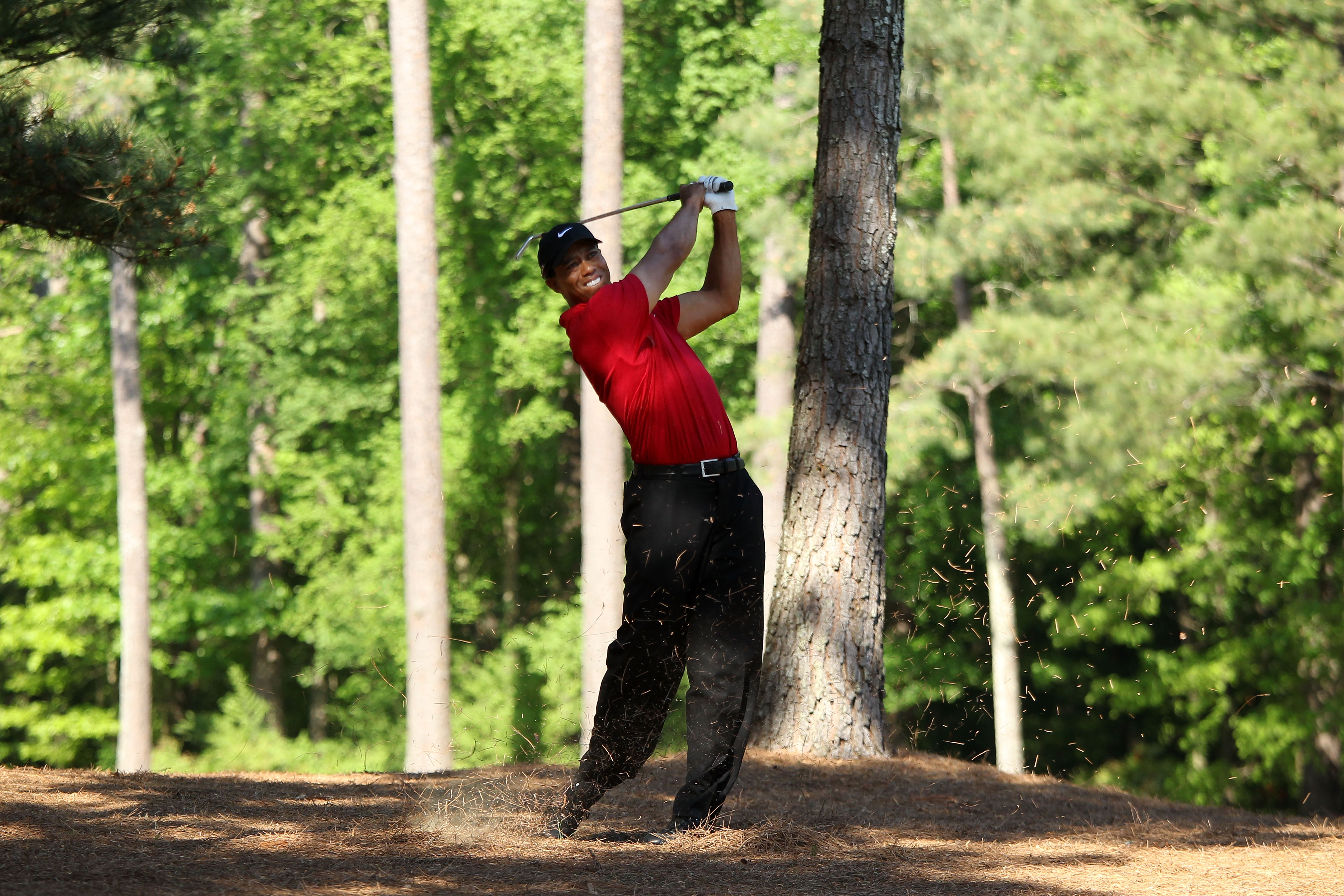 AUGUSTA, GA - APRIL 11:  Tiger Woods plays a shot from the pine needles on the 13th hole during the final round of the 2010 Masters Tournament at Augusta National Golf Club on April 11, 2010 in Augusta, Georgia.  (Photo by David Cannon/Getty Images)