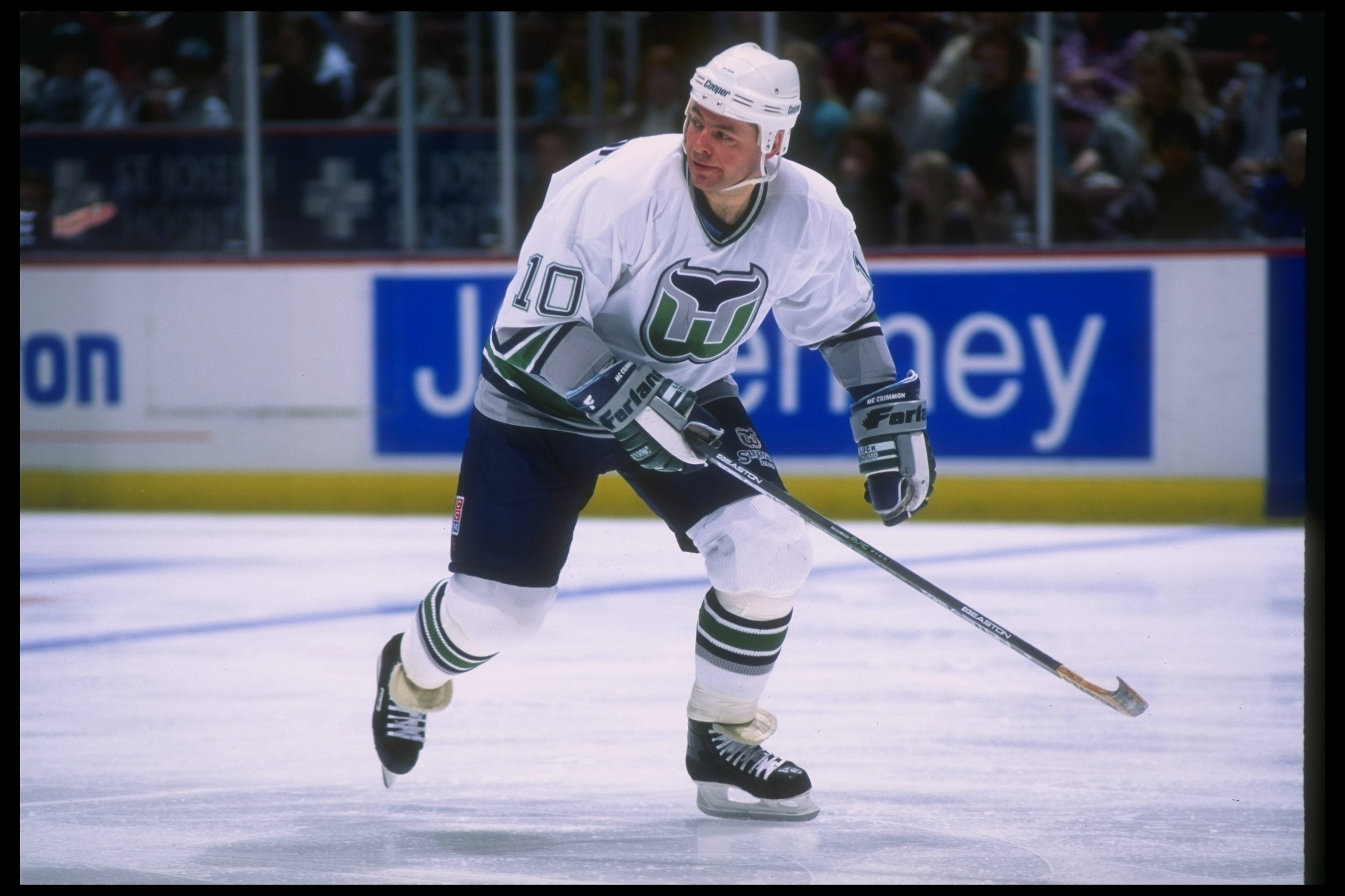 2 Feb 1996  Defenseman Brad McCrimmon of the Hartford Whalers moves down  the ice during 343cd2274