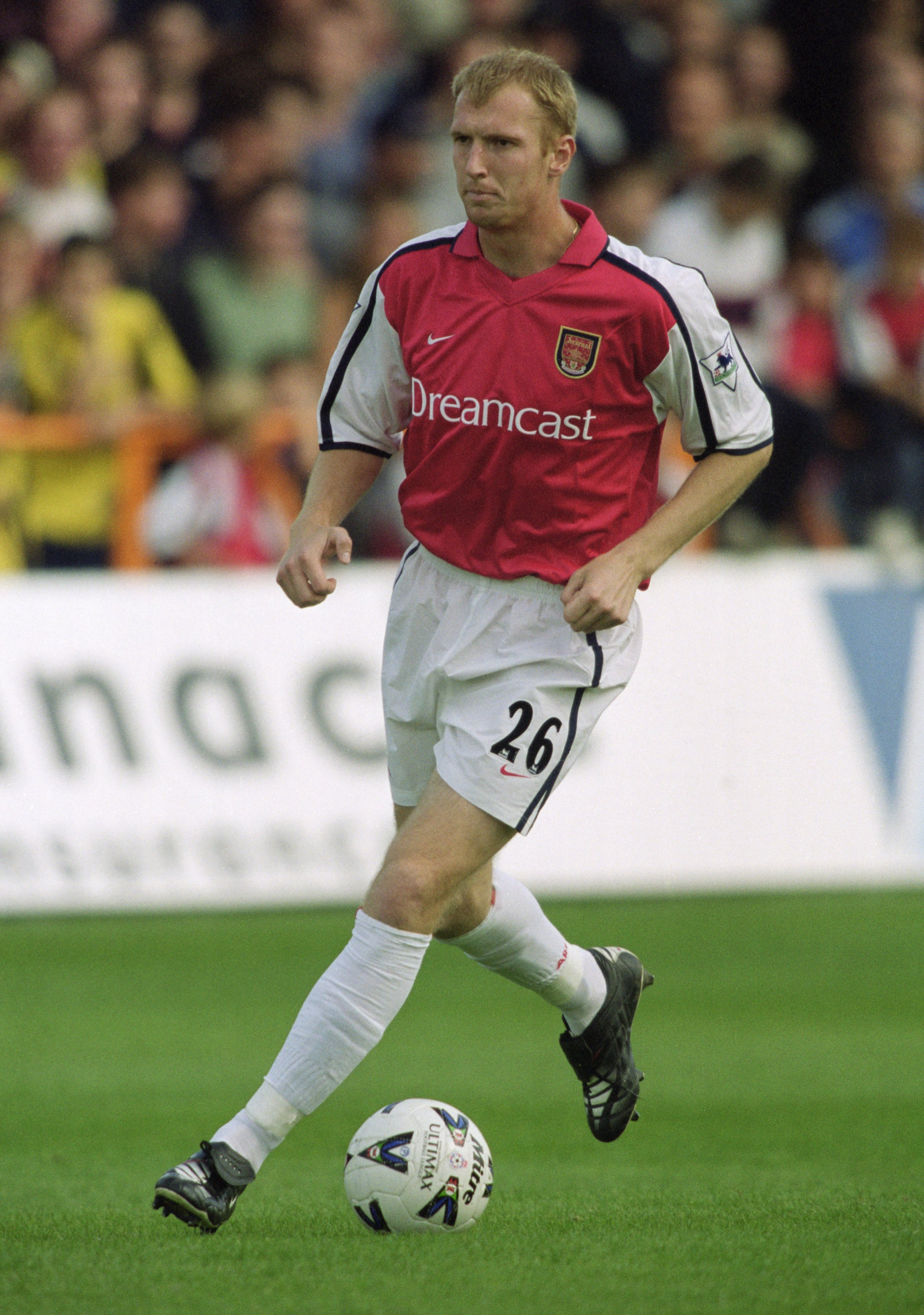 11 Aug 2001:  Igor Stepanovs of Arsenal on the ball during the Pre-season friendly match against Barnet played at Underhill in London. \ Mandatory Credit: Ben Radford /Allsport