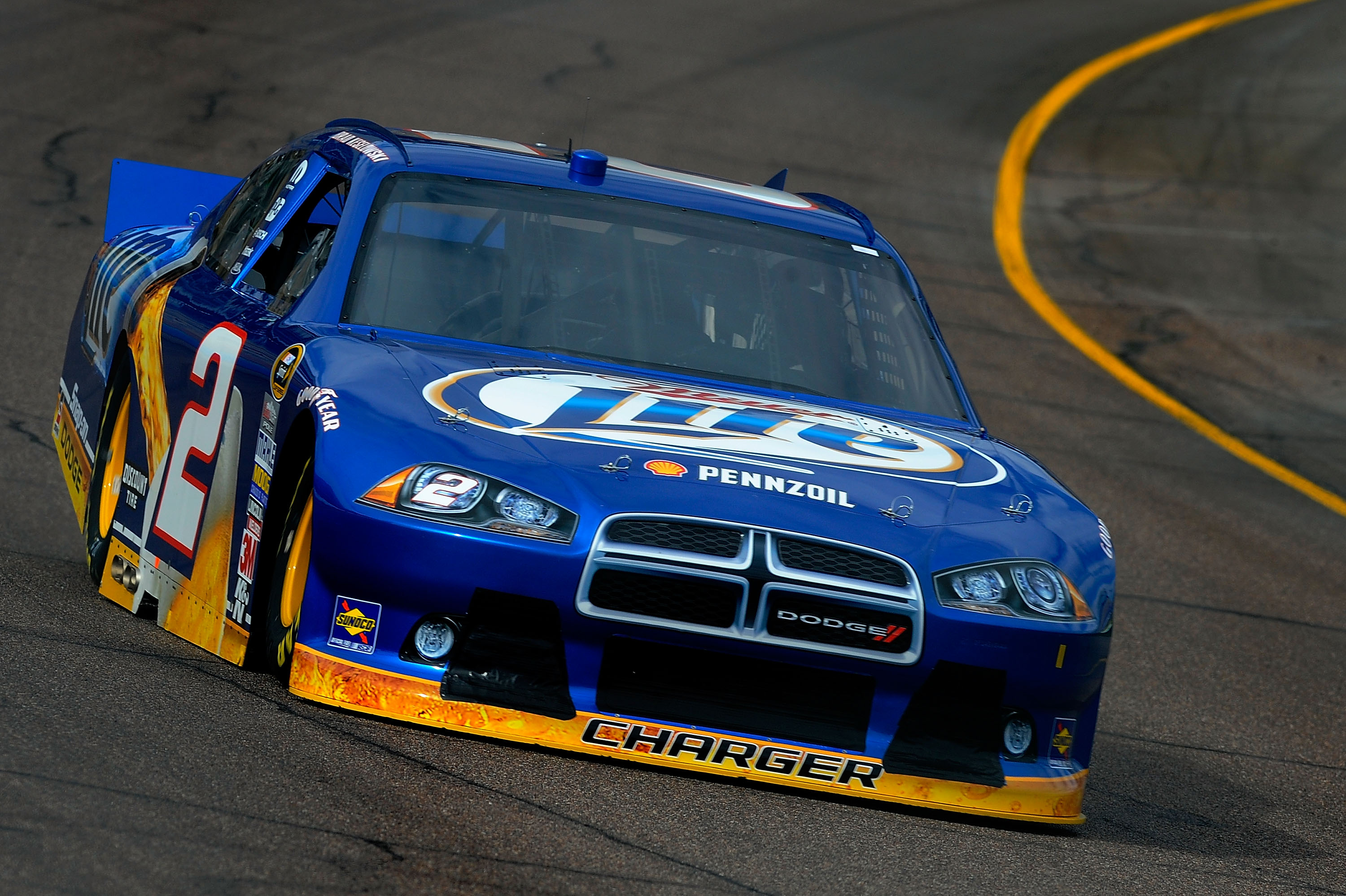 AVONDALE, AZ - FEBRUARY 25:  Brad Keselowski, driver of the #2 Miller Lite Dodge, practices for the Subway Fresh Fit 500 at Phoenix International Raceway on February 25, 2011 in Avondale, Arizona.  (Photo by Jared C. Tilton/Getty Images for NASCAR)