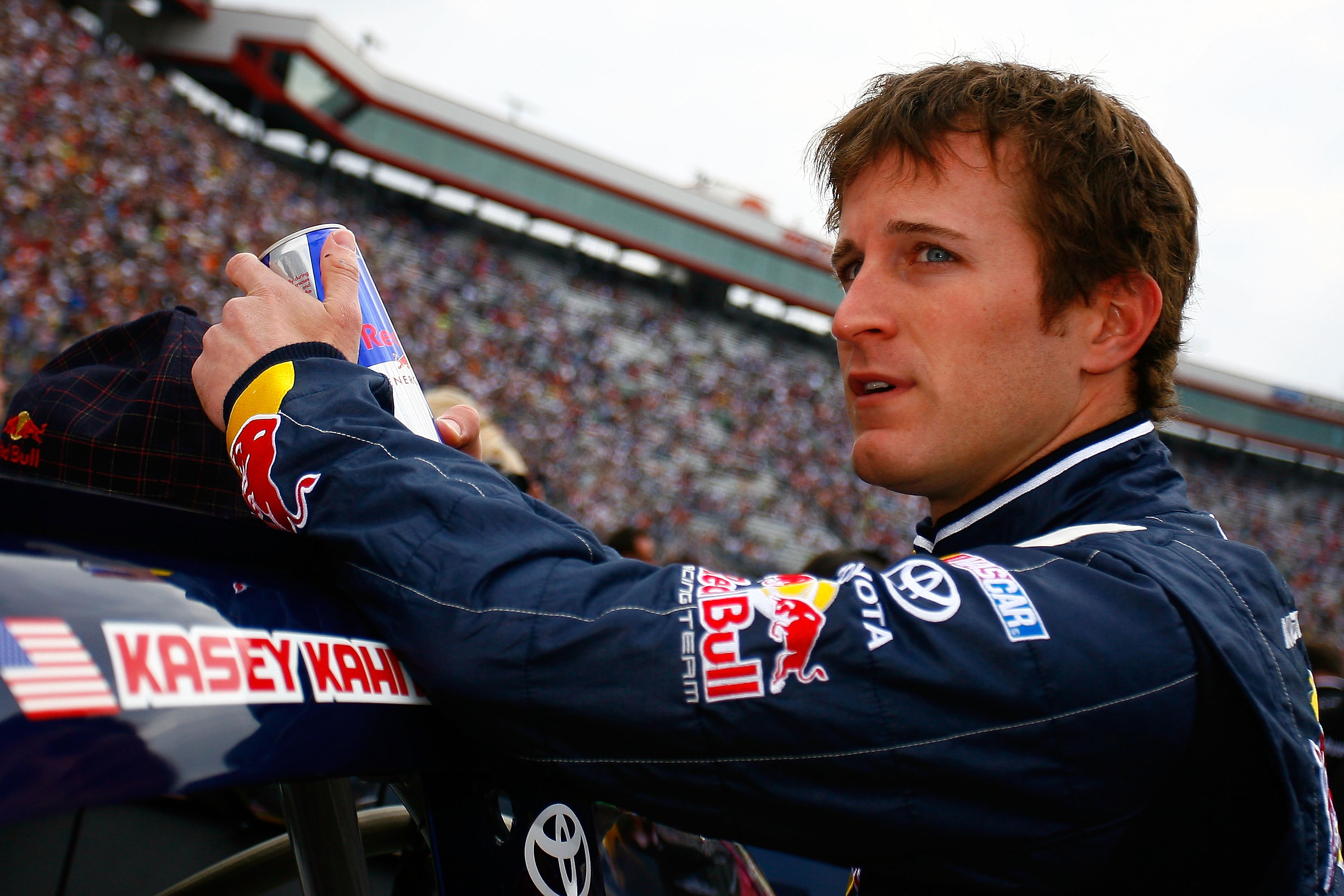 BRISTOL, TN - MARCH 20:  Kasey Kahne, driver of the #4 Red Bull Toyota, stands on the grid prior to the NASCAR Sprint Cup Series Jeff Byrd 500 Presented By Food City at Bristol Motor Speedway on March 20, 2011 in Bristol, Tennessee.  (Photo by Jason Smith