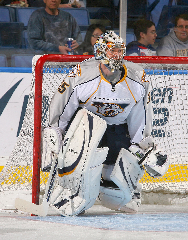 e7637c6d9f9 BUFFALO, NY - MARCH 20: Pekka Rinne #35 of the Nashville Predators warms