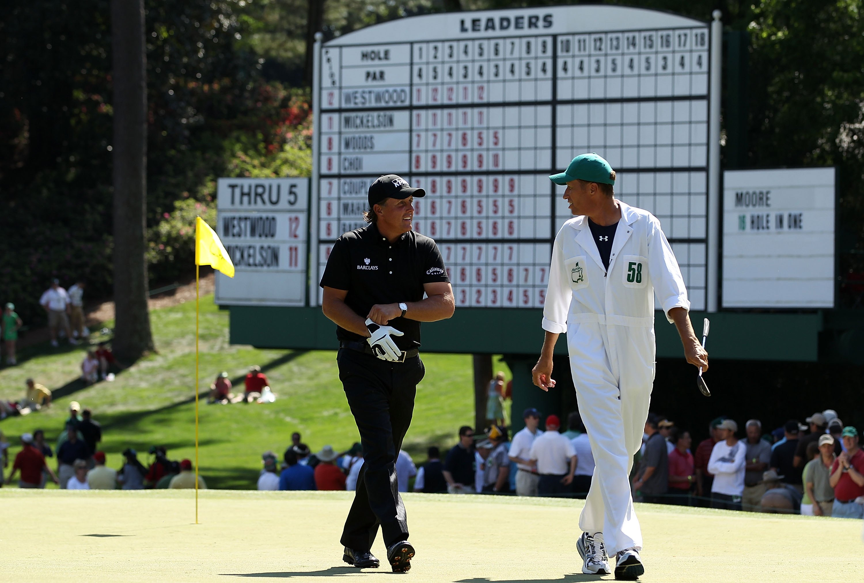 AUGUSTA, GA - APRIL 11:  Phil Mickelson and Jim McKay during the final round of the 2010 Masters Tournament at Augusta National Golf Club on April 11, 2010 in Augusta, Georgia.  (Photo by Streeter Lecka/Getty Images for Golf Week)
