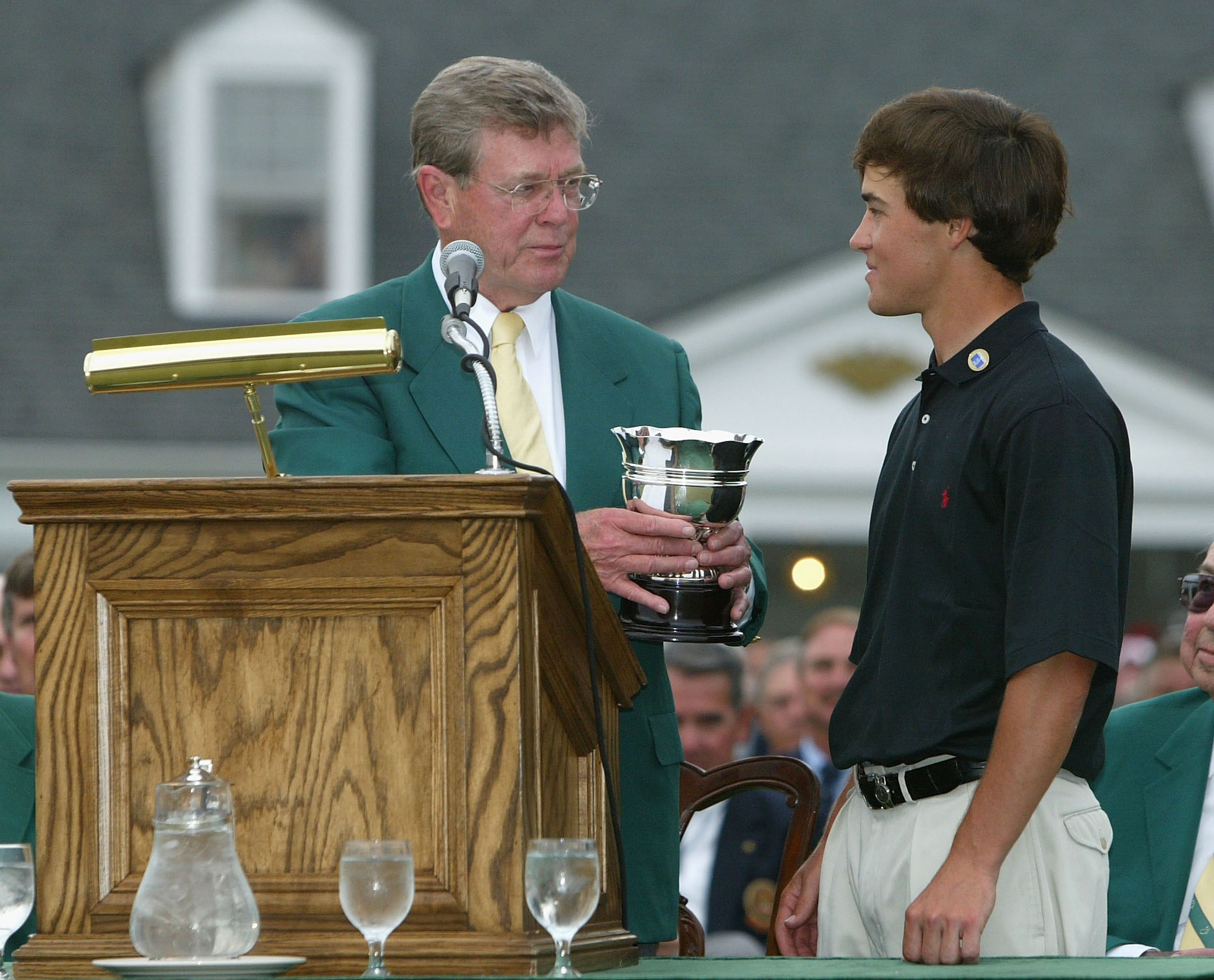 AUGUSTA, GA - APRIL 11:  Casey Wittenberg of the USA is presented with the trophy for the low amateur after the final round of the Masters at the Augusta National Golf Club on April 11, 2004 in Augusta, Georgia.  (Photo by David Cannon/Getty Images)
