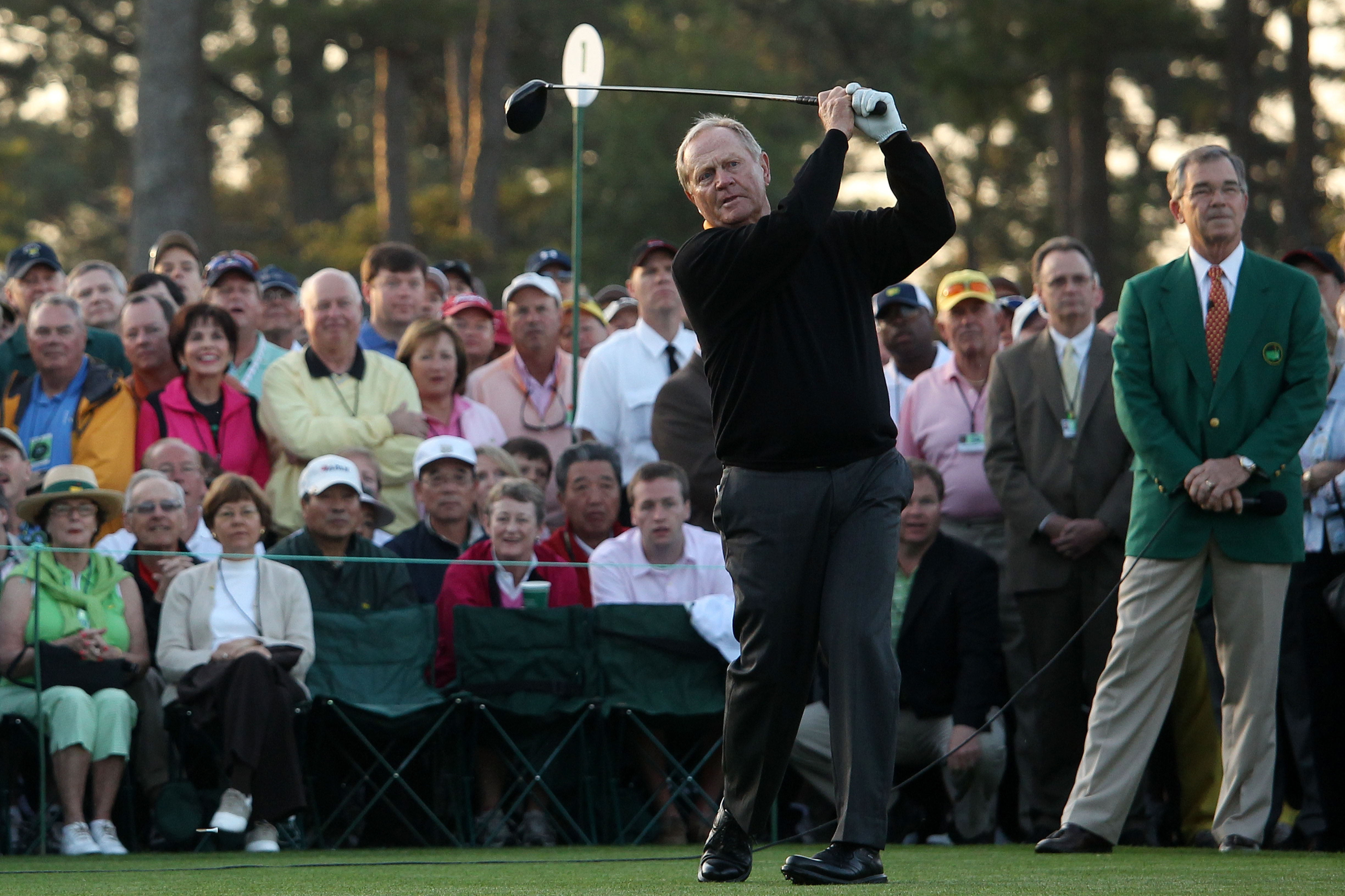 AUGUSTA, GA - APRIL 08:  Honorary starter Jack Nicklaus hits his tee shot on the first hole during the first round of the 2010 Masters Tournament at Augusta National Golf Club on April 8, 2010 in Augusta, Georgia.  (Photo by Andrew Redington/Getty Images)
