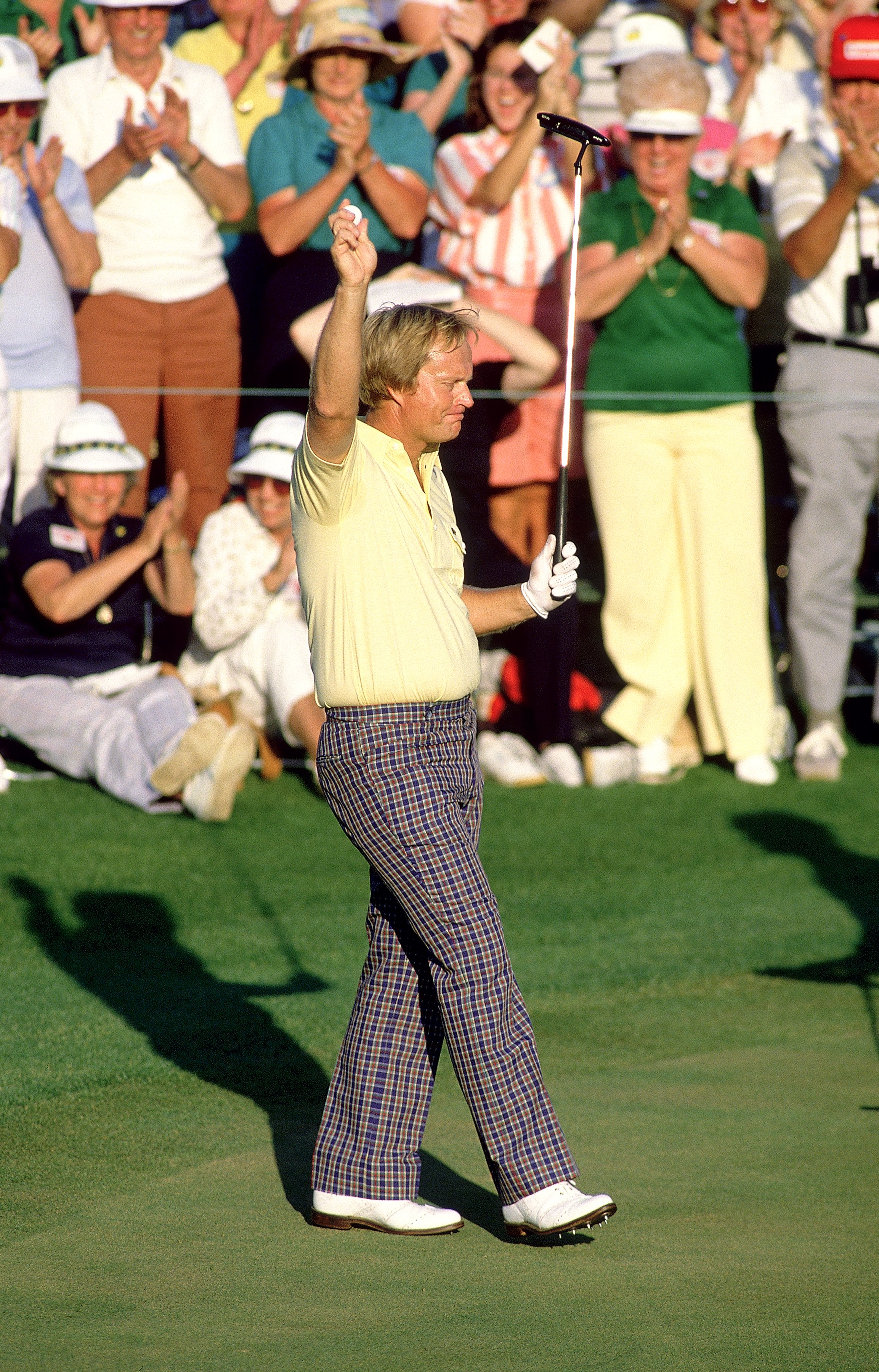 13 Apr 1986: Jack Nicklaus of the USA celebrates on the final green after victory in the US Masters at Augusta National in Georgia, USA. \ Mandatory Credit: David Cannon /Allsport