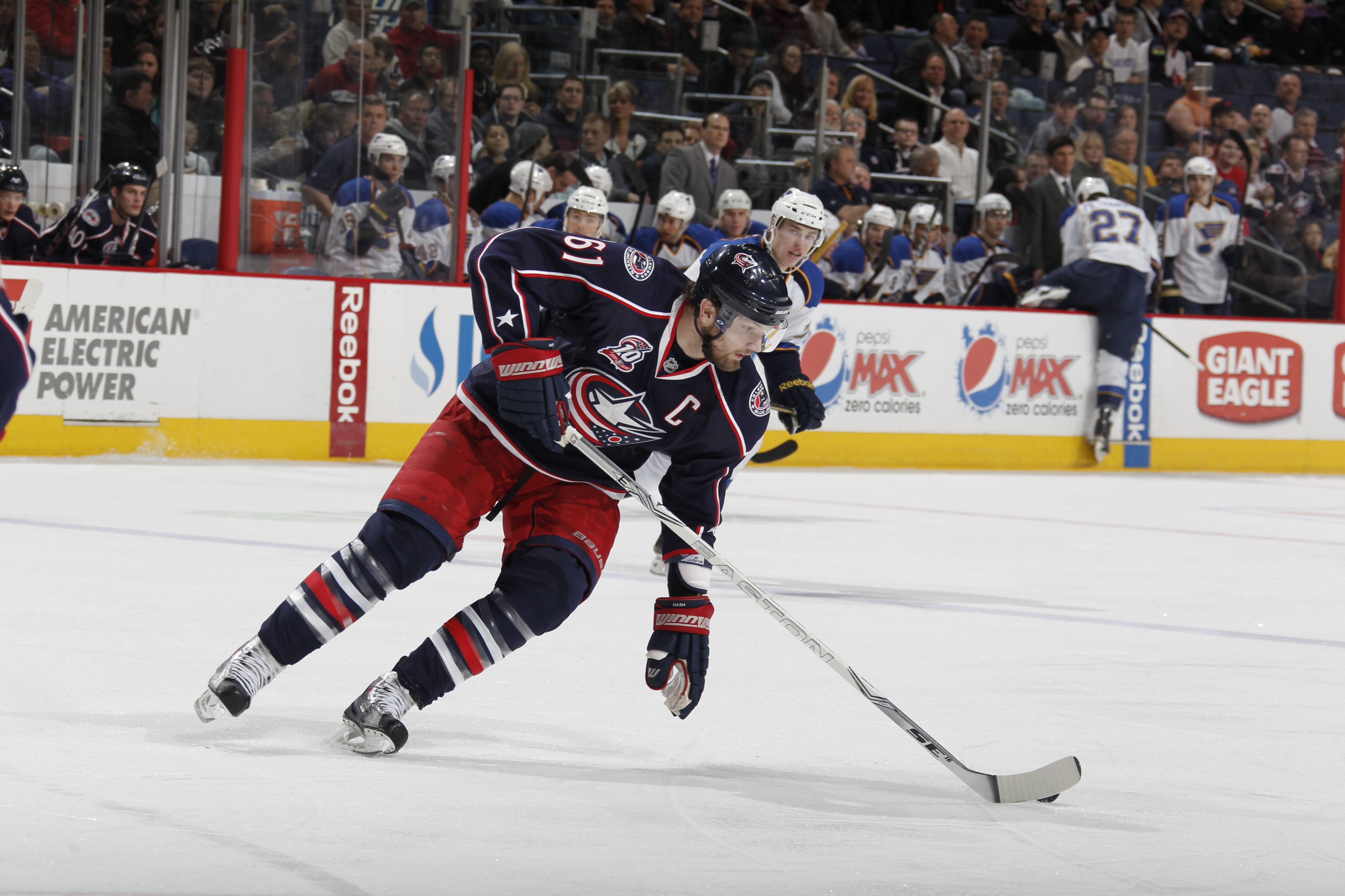 COLUMBUS, OH - MARCH 09:  Rick Nash #61 of the Columbus Blue Jackets skates against the St. Louis Blues on March 9, 2011 at Nationwide Arena in Columbus, Ohio.  (Photo by Gregory Shamus/Getty Images)