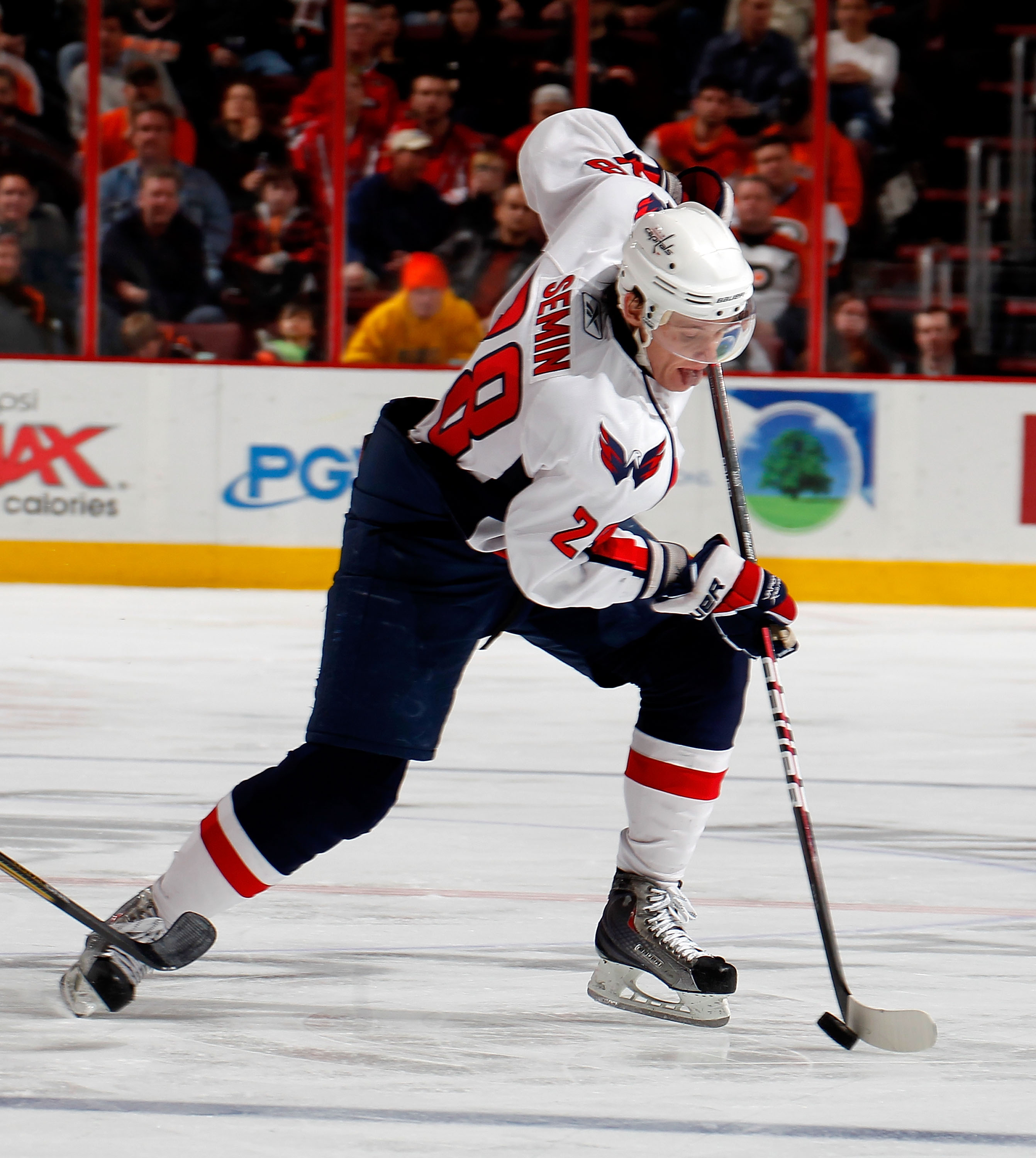 PHILADELPHIA, PA - MARCH 22:  Alexander Semin #28 of the Washington Capitals skates during an NHL hockey game against the Philadelphia Flyers at the Wells Fargo Center on March 22, 2011 in Philadelphia, Pennsylvania.  (Photo by Paul Bereswill/Getty Images