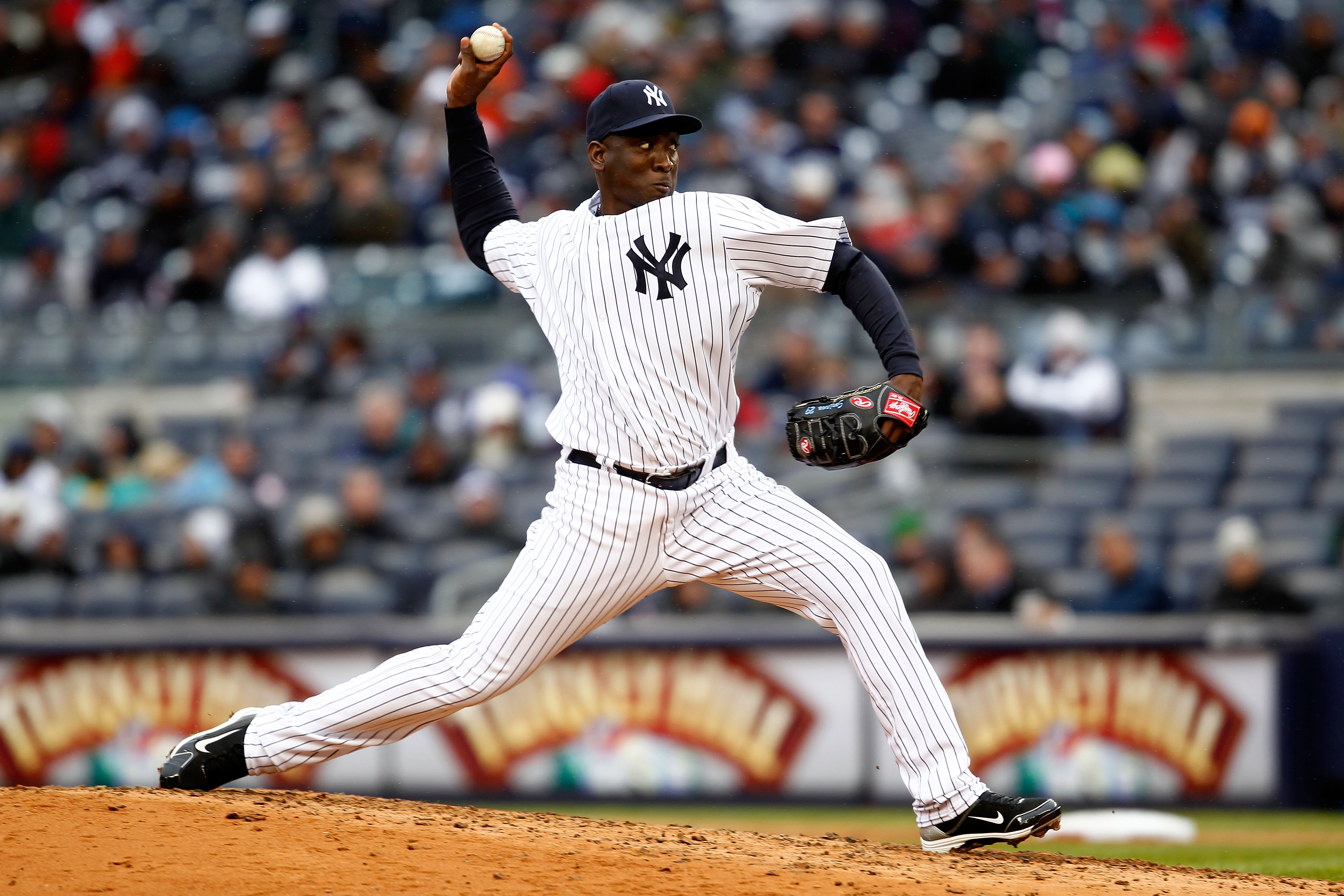 NEW YORK, NY - MARCH 31:  Rafael Soriano #29 of the New York Yankees pitches against the Detroit Tigers in the eighth inning on Opening Day at Yankee Stadium on March 31, 2011 in the Bronx borough of New York City.  (Photo by Jeff Zelevansky/Getty Images)