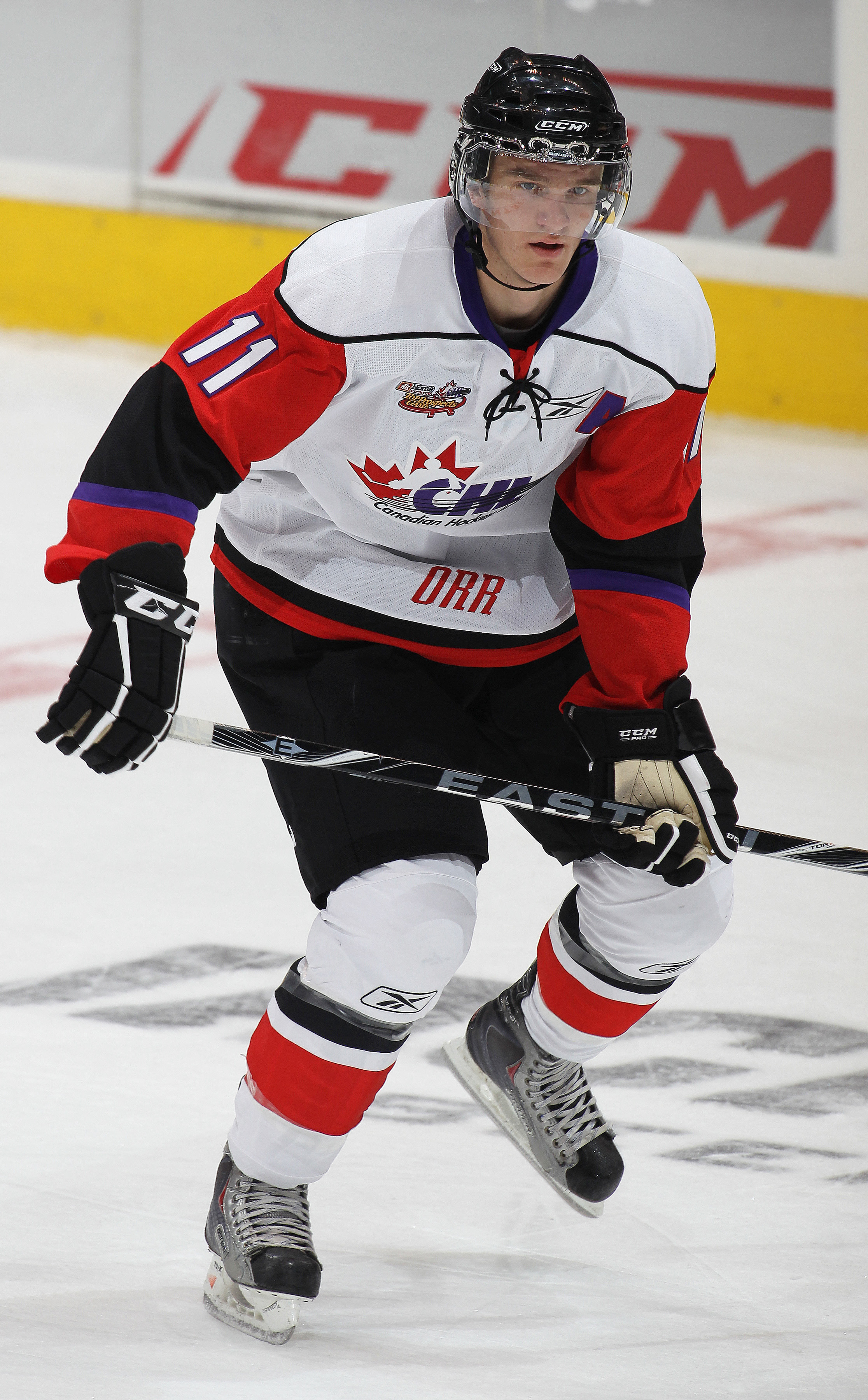TORONTO, CAN - JANUARY 19:  Jonathan Huberdeau #11 of Team Orr skates against Team Cherry in the 2011 Home Hardware Top Prospects game on January 19, 2011 at the Air Canada Centre in Toronto, Canada. Team Orr defeated Team Cherry 7-1. (Photo by Claus Ande