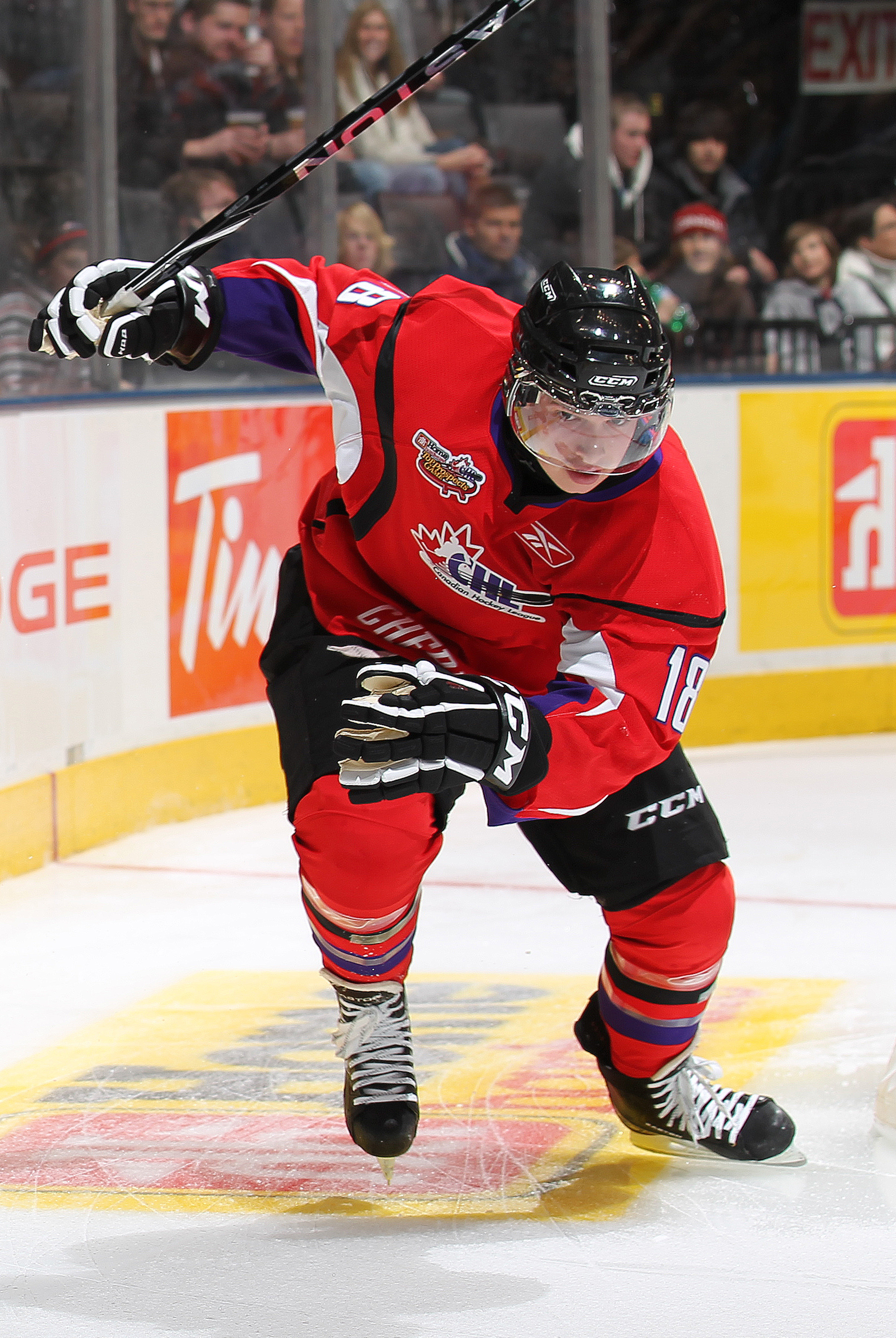 TORONTO, CAN - JANUARY 19:  Matt Puempel #18 of Team Cherry skates after a puck against Team Orr in the 2011 Home Hardware Top Prospects game on January 19, 2011 at the Air Canada Centre in Toronto, Canada. Team Orr defeated Team Cherry 7-1. (Photo by Cla