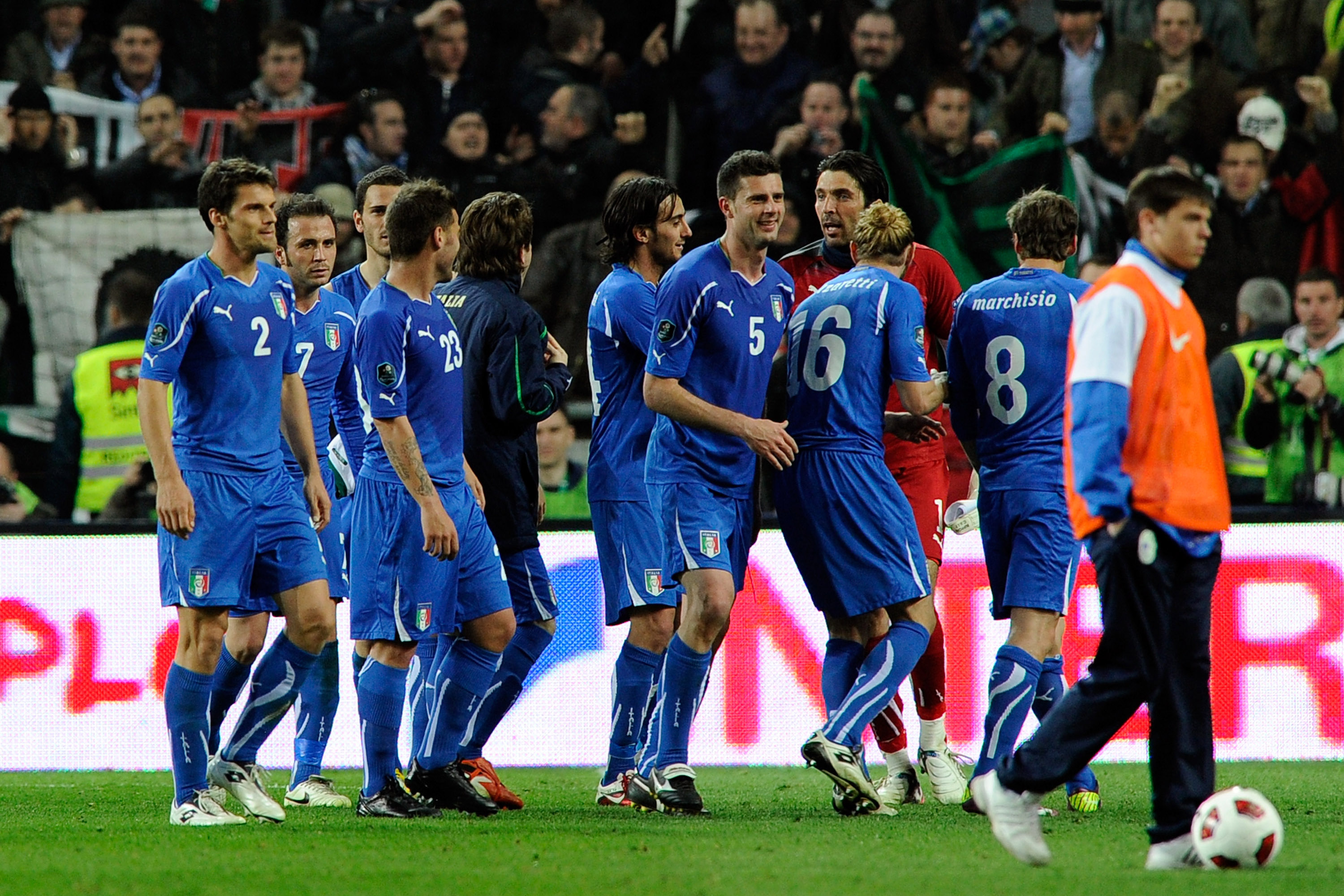 LJUBLJANA, SLOVENIA - MARCH 25:  Players of Italy celebrate during the UEFA EURO 2012 qualifier between Slovenia and Italy on March 25, 2011 in Ljubljana, Slovenia.  (Photo by Claudio Villa/Getty Images)