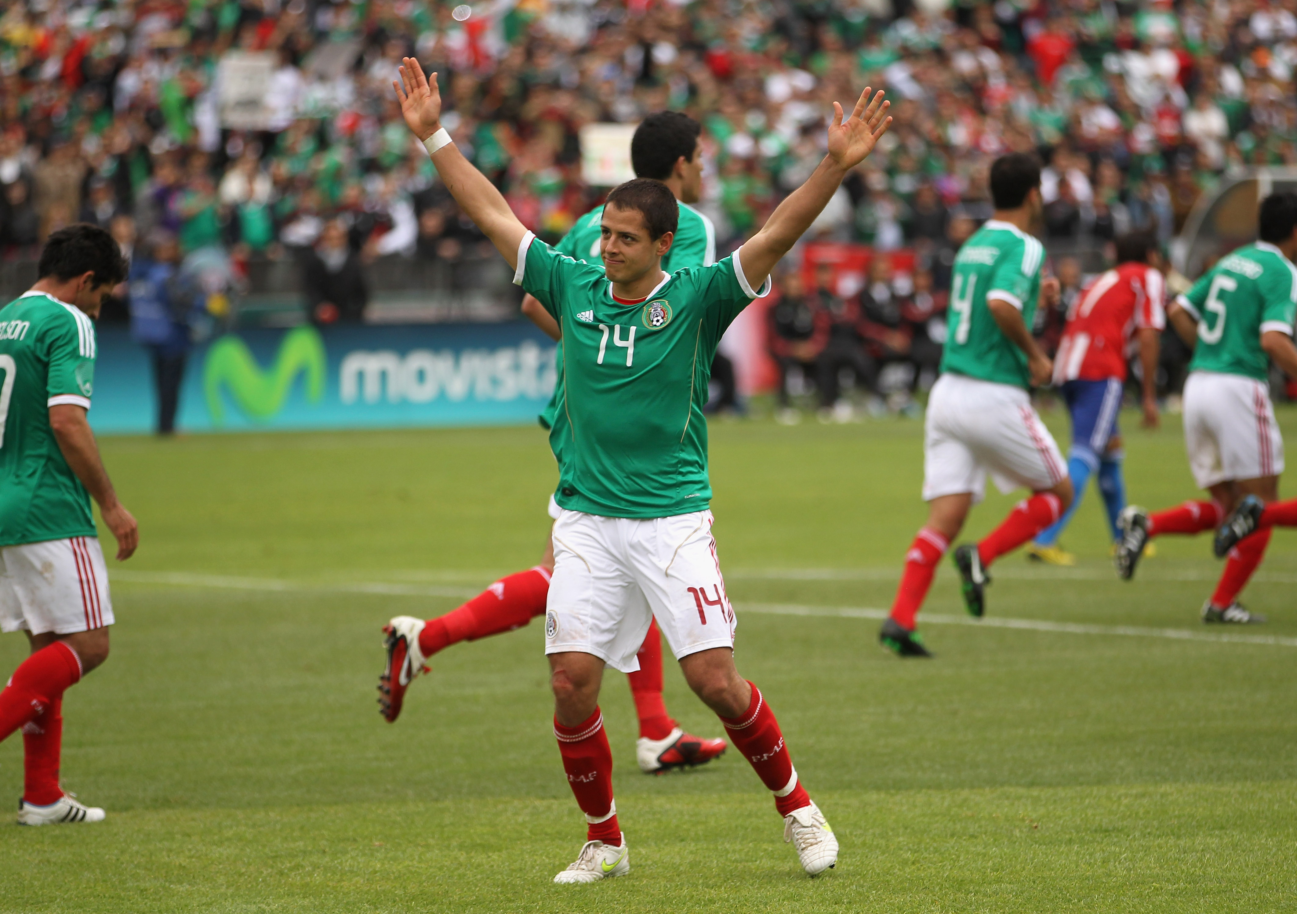 OAKLAND, CA - MARCH 26:  Javier 'Chicharito' Hernandez of Mexico waves to the crowd after he scored his second goal during their international friendly match against Paraguay at Oakland-Alameda County Coliseum on March 26, 2011 in Oakland, California.  (P