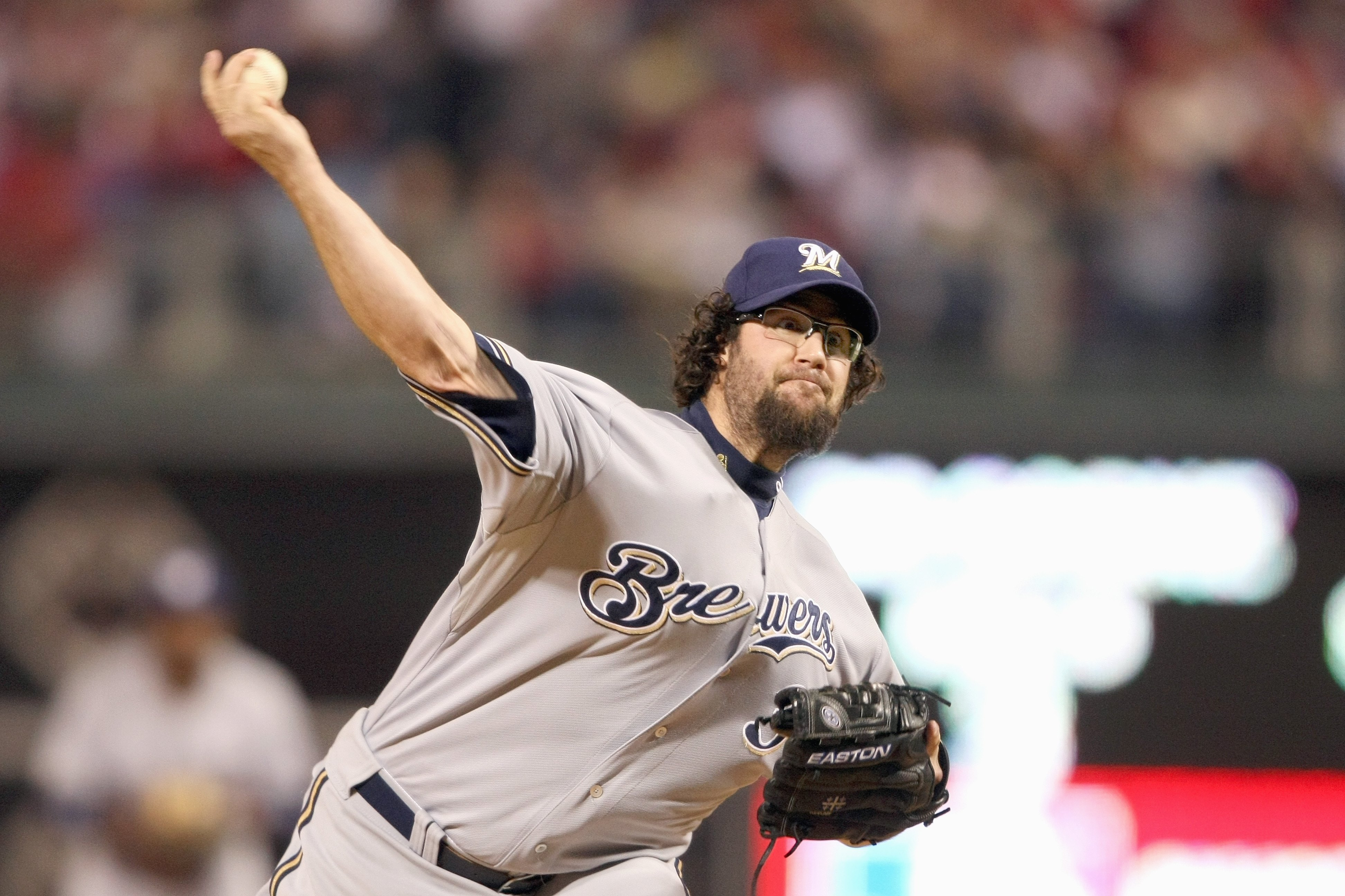PHILADELPHIA - OCTOBER 2:  Eric Gagne #38 of the Milwaukee Brewers pitches against the Philadelphia Phillies during Game 2 of the NLDS Playoffs at Citizens Bank Ballpark on October 2, 2008 in Philadelphia, Pennsylvania. (Photo by: Nick Laham/Getty Images)