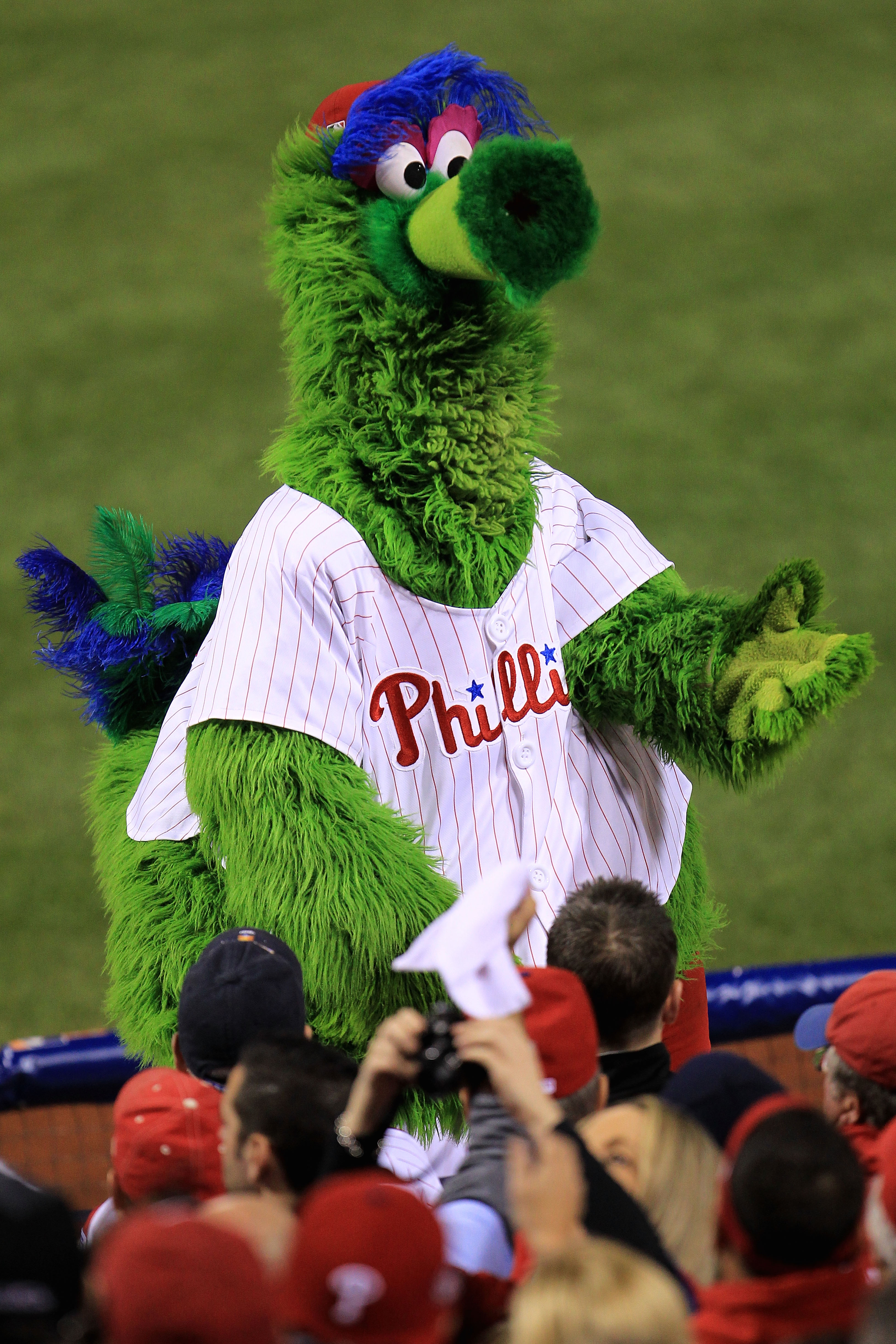 PHILADELPHIA - OCTOBER 17:  The Phillie Phanatic pumps up the crowd as the Phillies take on the San Francisco Giants in Game Two of the NLCS during the 2010 MLB Playoffs at Citizens Bank Park on October 17, 2010 in Philadelphia, Pennsylvania.  (Photo by C