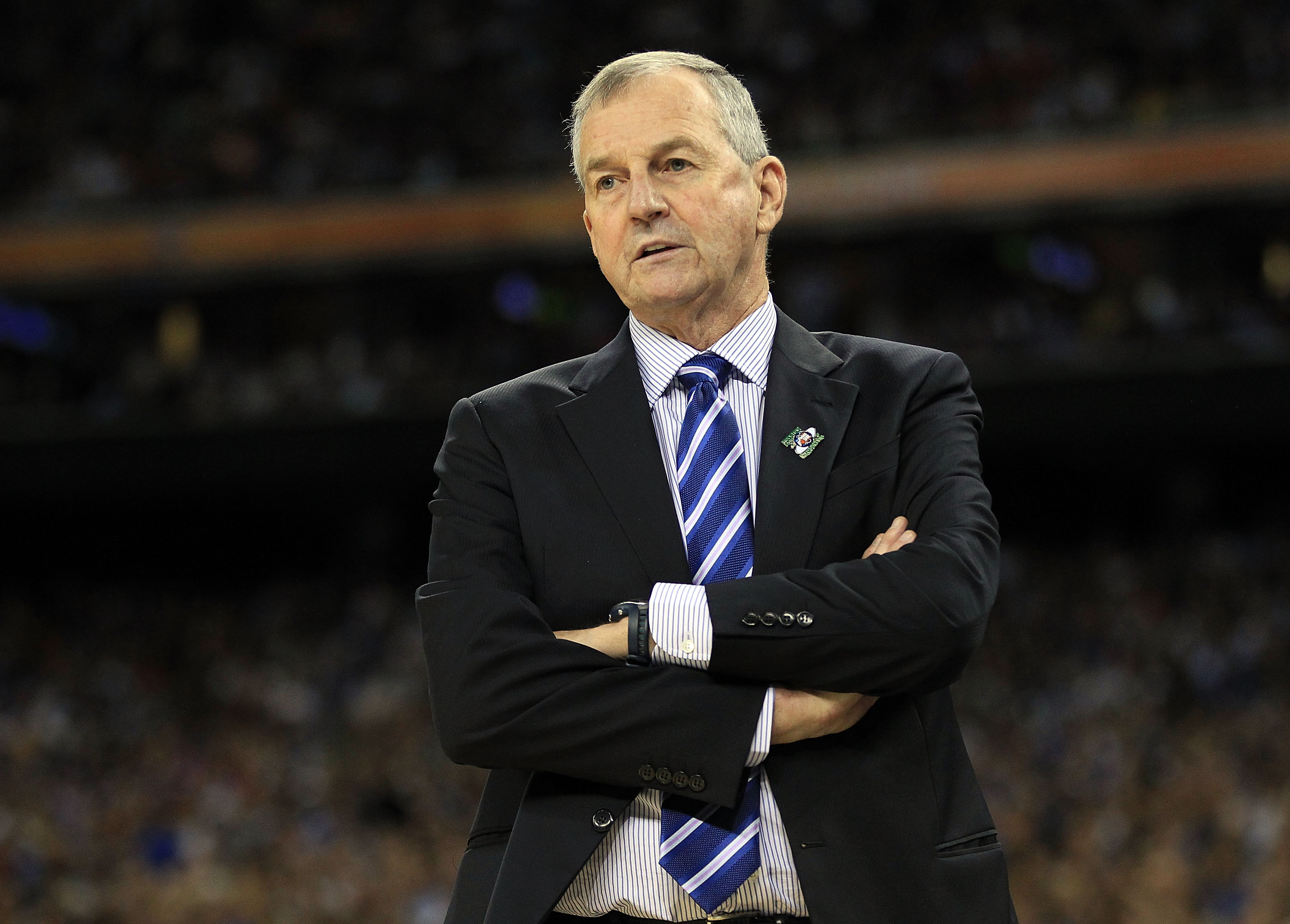 HOUSTON, TX - APRIL 04:  Head coach Jim Calhoun of the Connecticut Huskies looks on from the sidelines against the Butler Bulldogs during the National Championship Game of the 2011 NCAA Division I Men's Basketball Tournament at Reliant Stadium on April 4,