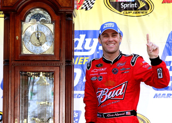 MARTINSVILLE, VA - APRIL 03:  Kevin Harvick, driver of the #29 Budweiser Chevrolet, poses in Victory Lane after winning the NASCAR Sprint Cup Series Goody's Fast Relief 500 at Martinsville Speedway on April 3, 2011 in Martinsville, Virginia.  (Photo by Je