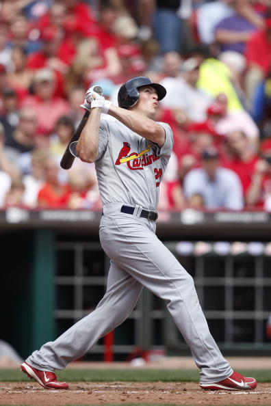 CINCINNATI, OH - APRIL 5: Colby Rasmus #28 of the St. Louis Cardinals hits a home run in the fourth inning against the Cincinnati Reds at the Great American Ball Park on March 5, 2010 in Cincinnati, Ohio. (Photo by Joe Robbins/Getty Images)