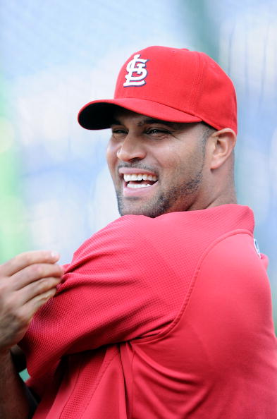 WASHINGTON - AUGUST 26:  Albert Pujols #5 of the St. Louis Cardinals warms up before the game against the Washington Nationals at Nationals Park on August 26, 2010 in Washington, DC.  (Photo by Greg Fiume/Getty Images)