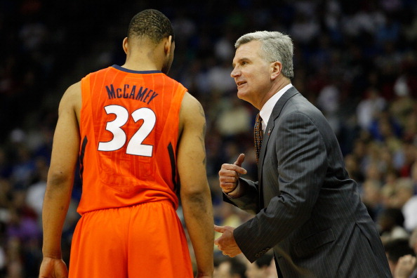 TULSA, OK - MARCH 20:  Head coach Bruce Weber of the Illinois Fighting Illini speaks with Demetri McCamey #32 during the third round game against the Kansas Jayhawks in the 2011 NCAA men's basketball tournament at BOK Center on March 20, 2011 in Tulsa, Ok