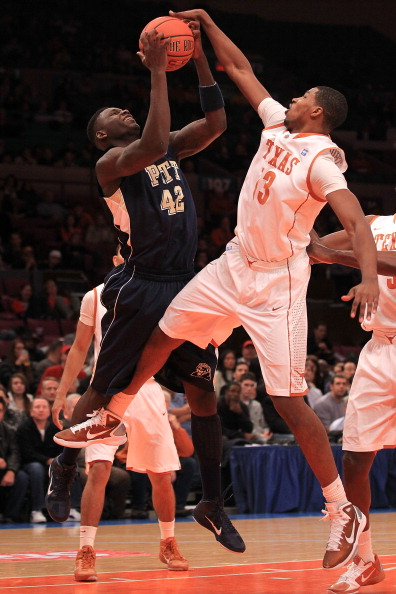 NEW YORK - NOVEMBER 19: Tristan Thompson #13 of the Texas Longhorns contests a rebound with Talib Zanna #42 of the Pittsburgh Panthers during the Championship game of the 2k Sports Classic at Madison Square Garden on November 19, 2010 in New York, New Yor
