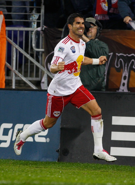 HARRISON, NJ - NOVEMBER 04:  Juan Pablo Angel #9 of the New York Red Bulls celebrates after scoring a second-half goal against the San Jose Earthquakes during the 2nd Leg of the MLS playoffs on November 4, 2010 at Red Bull Arena in Harrison, New Jersey.
