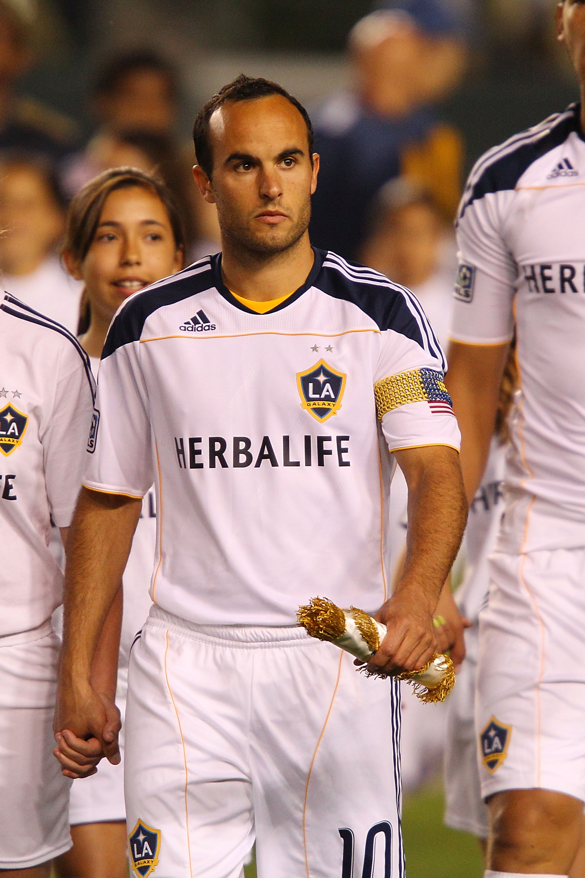 CARSON, CA - APRIL 02:  Landon Donovan #10 of the Los Angeles Galaxy enters the field prior to the start of the match against the Philadelphia Union at The Home Depot Center on April 2, 2011 in Carson, California.  (Photo by Joe Scarnici/Getty Images)
