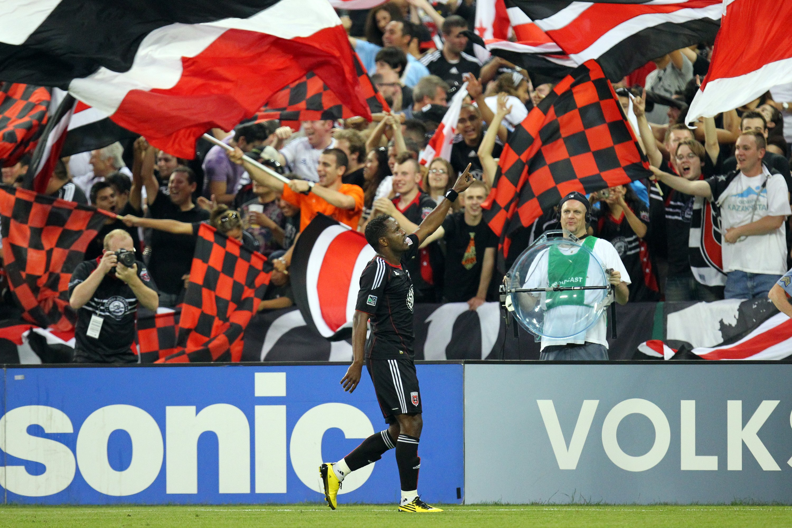 WASHINGTON - MAY 26: Luciano Emilio #11 of D.C. United celebrates after a goal against A.C. Milan at RFK Stadium on May 26, 2010 in Washington, DC. D.C. United won 3-2. (Photo by Ned Dishman/Getty Images)