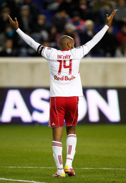 HARRISON, NJ - APRIL 02:  Thierry Henry #14 of the New York Red Bulls reacts during their game against the Houston Dynamo at Red Bull Arena on April 2, 2011 in Harrison, New Jersey.  (Photo by Jeff Zelevansky/Getty Images)