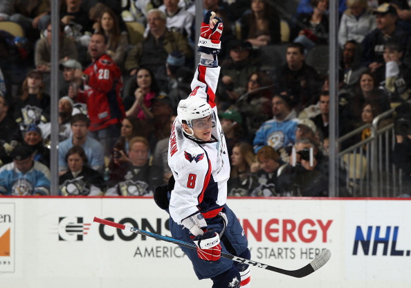 PITTSBURGH, PA - FEBRUARY 21:  Alex Ovechkin #8 of the Washington Capitals celebrates after scoring a second period power play goal against the Pittsburgh Penguins during the NHL game at Consol Energy Center on February 21, 2011 in Pittsburgh, Pennsylvani