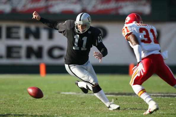 OAKLAND, CA - NOVEMBER 30:  Kicker Sebastian Janikowski #11 of the Oakland Raiders moves for failed fake field goal attempt against Maurice Legget #31 of the Kansas City Chiefs during an NFL game on November 30, 2008 at the Oakland-Alameda County Coliseum