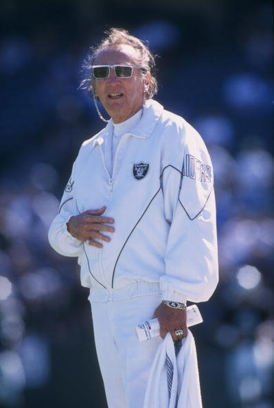 13 Oct 1996:  Owner and President Al Davis of the Oakland Raiders stands in attentio as he salutes the American Flag during the singing of the National Anthem before the Raiders 37-21 victory over the Lions at Alameda County Coliseum in Oakland, Californi