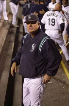 19 Sep 2001 : Manager Lou Pinella of the Seattle Mariners stands in the dugout during the game against the Anaheim Angels at Safeco Field in Seattle, Washington. The Mariners won 5-0. DIGITAL IMAGE. Mandatory Credit : Otto Greule /Allsport