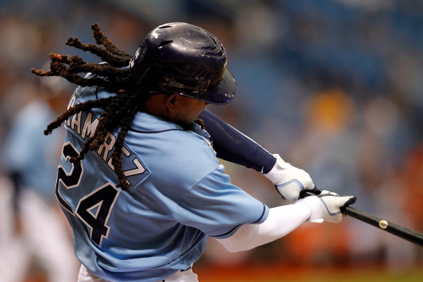 ST. PETERSBURG, FL - APRIL 03:  Designated hitter Manny Ramirez #24 of the Tampa Bay Rays bats against the Baltimore Orioles during the game at Tropicana Field on April 3, 2011 in St. Petersburg, Florida.  (Photo by J. Meric/Getty Images)