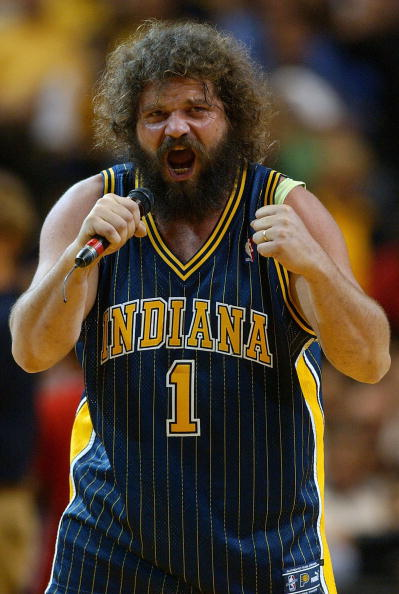 INDIANAPOLIS - MAY 24:  Survivor cast away Rupert Boneham fires up the crowd in the fourth quarter of the game between the Detroit Pistons and the Indiana Pacers in Game two of the Eastern Conference Finals during the 2004 NBA Playoffs at Conseco Fieldhou