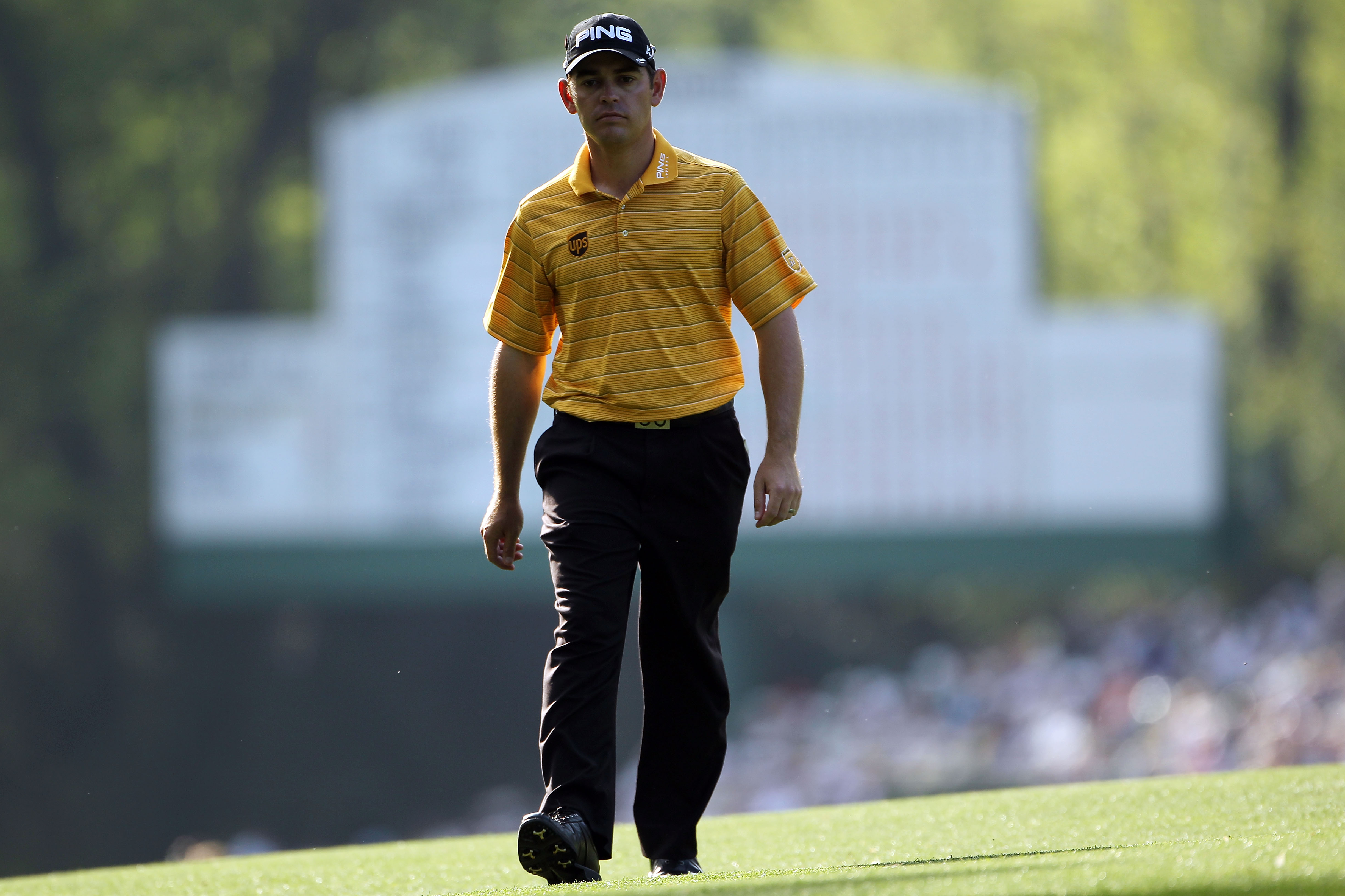 AUGUSTA, GA - APRIL 07:  Louis Oosthuizen of South Africa walks up the 14th hole during the first round of the 2011 Masters Tournament at Augusta National Golf Club on April 7, 2011 in Augusta, Georgia.  (Photo by Jamie Squire/Getty Images)