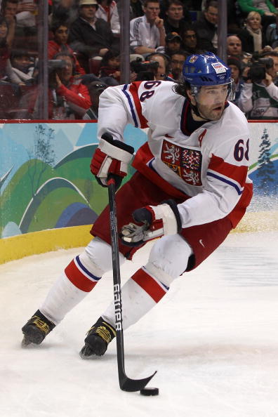VANCOUVER, BC - FEBRUARY 17:  Jaromir Jagr of the Czech Republic moves the puck against Slovakia during the ice hockey men's preliminary game on day 6 of the Vancouver 2010 Winter Olympics at Canada Hockey Place on February 17, 2010 in Vancouver, Canada.