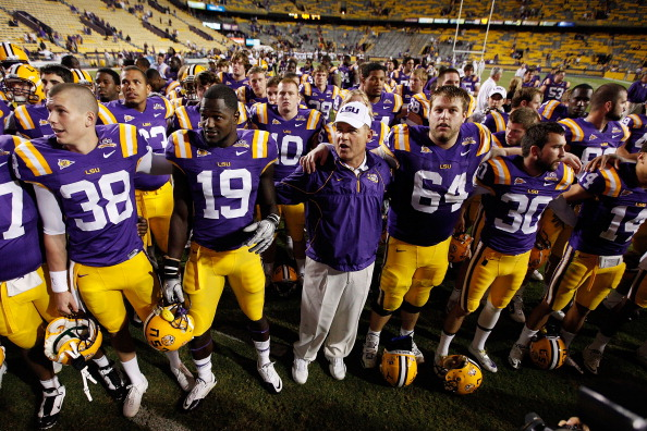 BATON ROUGE, LA - NOVEMBER 13:  Head coach Les Miles of the Louisiana State University Tigers celebrates after defeating the University of Louisiana-Monroe Warhawks at Tiger Stadium on November 13, 2010 in Baton Rouge, Louisiana.   The Tigers defeated the